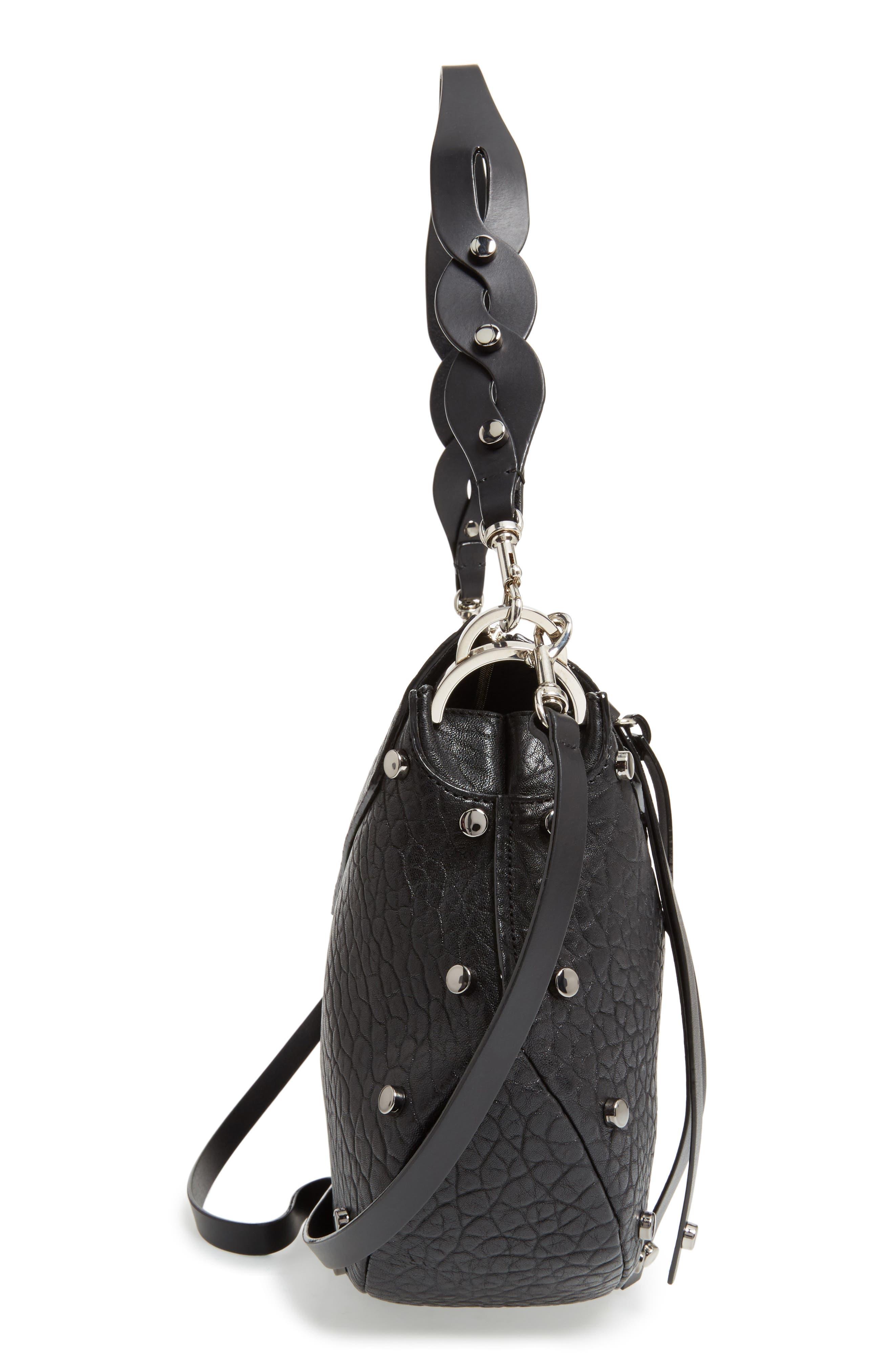 Artie Studded Leather Hobo Bag,                             Alternate thumbnail 5, color,                             001