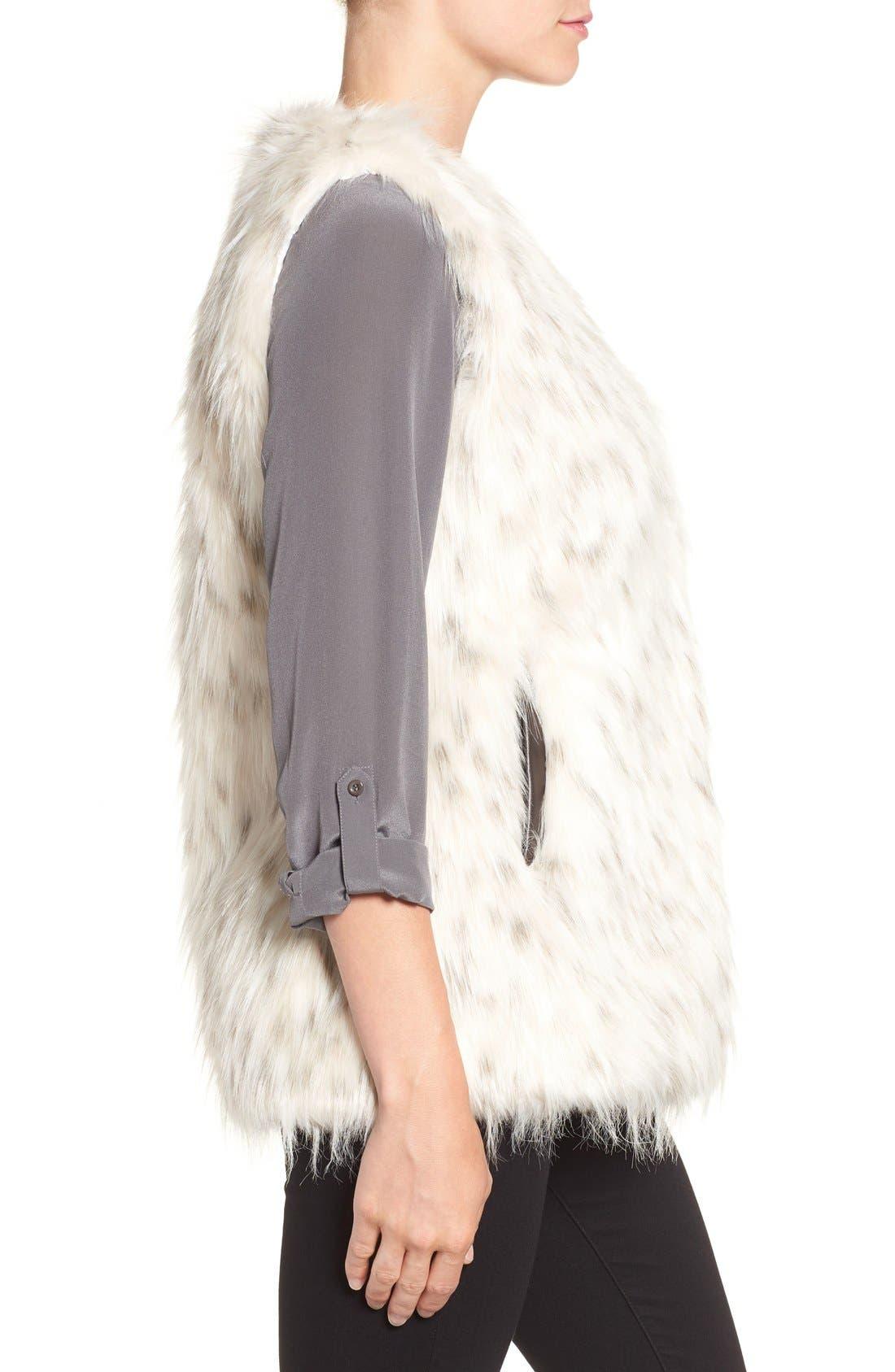 Collarless Faux Fur Vest,                             Alternate thumbnail 3, color,                             134
