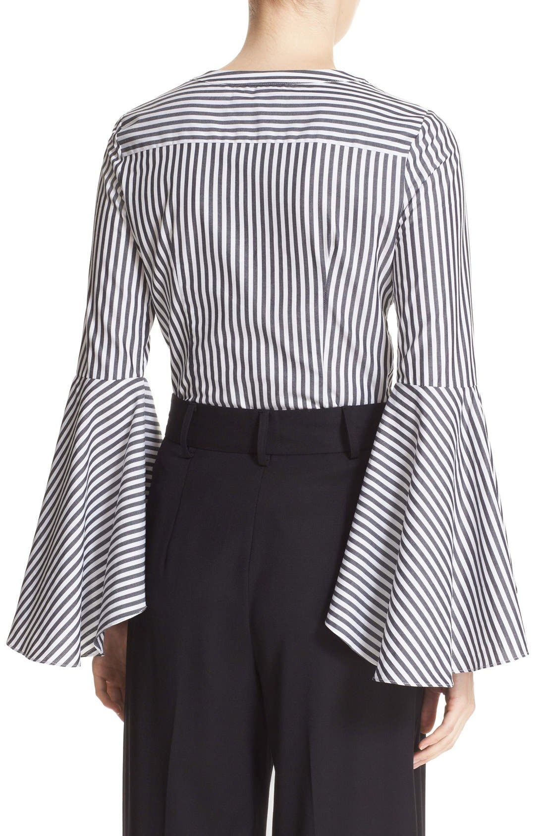 'Ruthie' Stripe Cotton Bell Sleeve Blouse,                             Alternate thumbnail 4, color,                             001