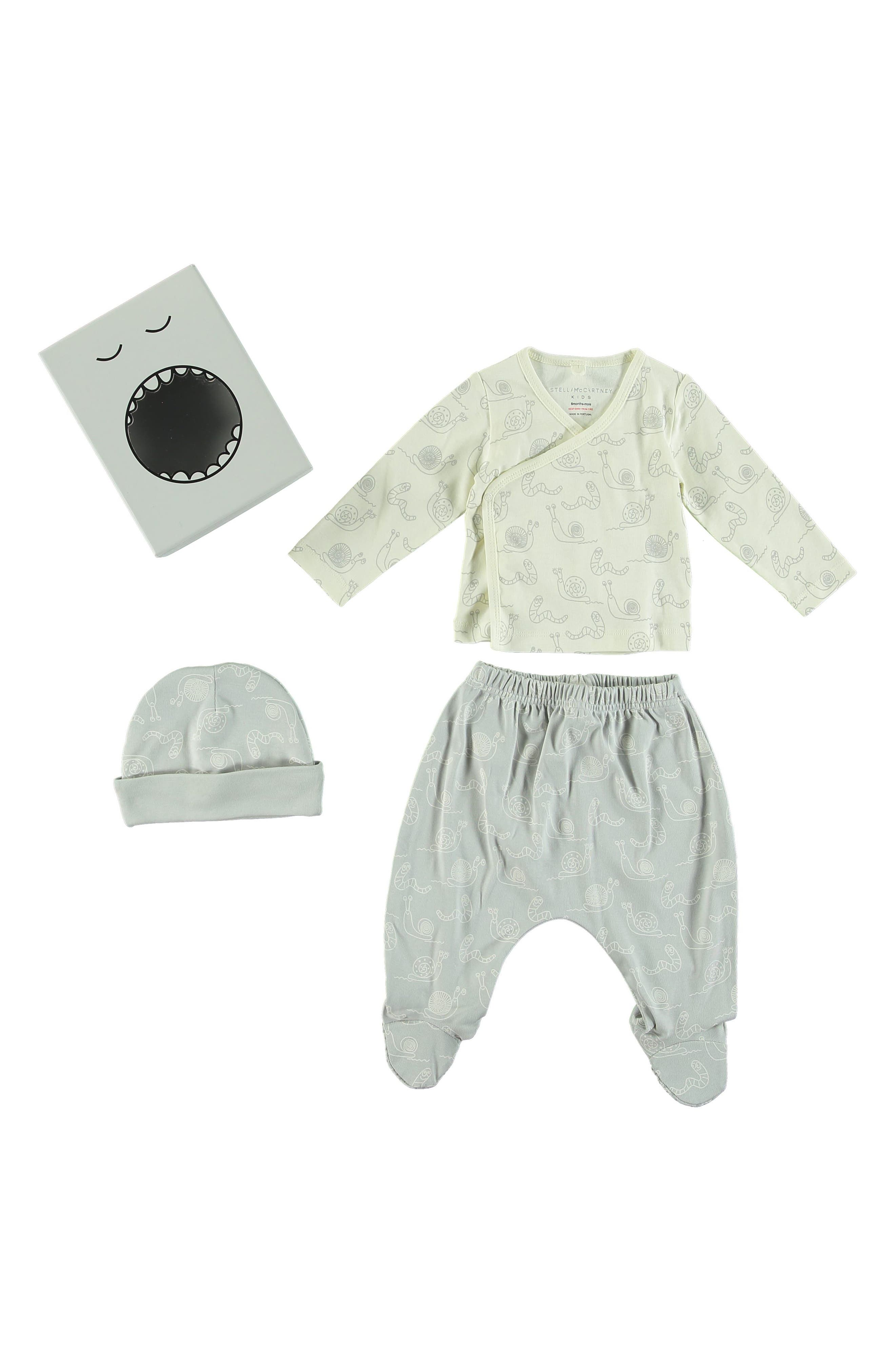 Little Starling Wrap Top, Footed Pants & Hat Set,                         Main,                         color, WHITE GREY
