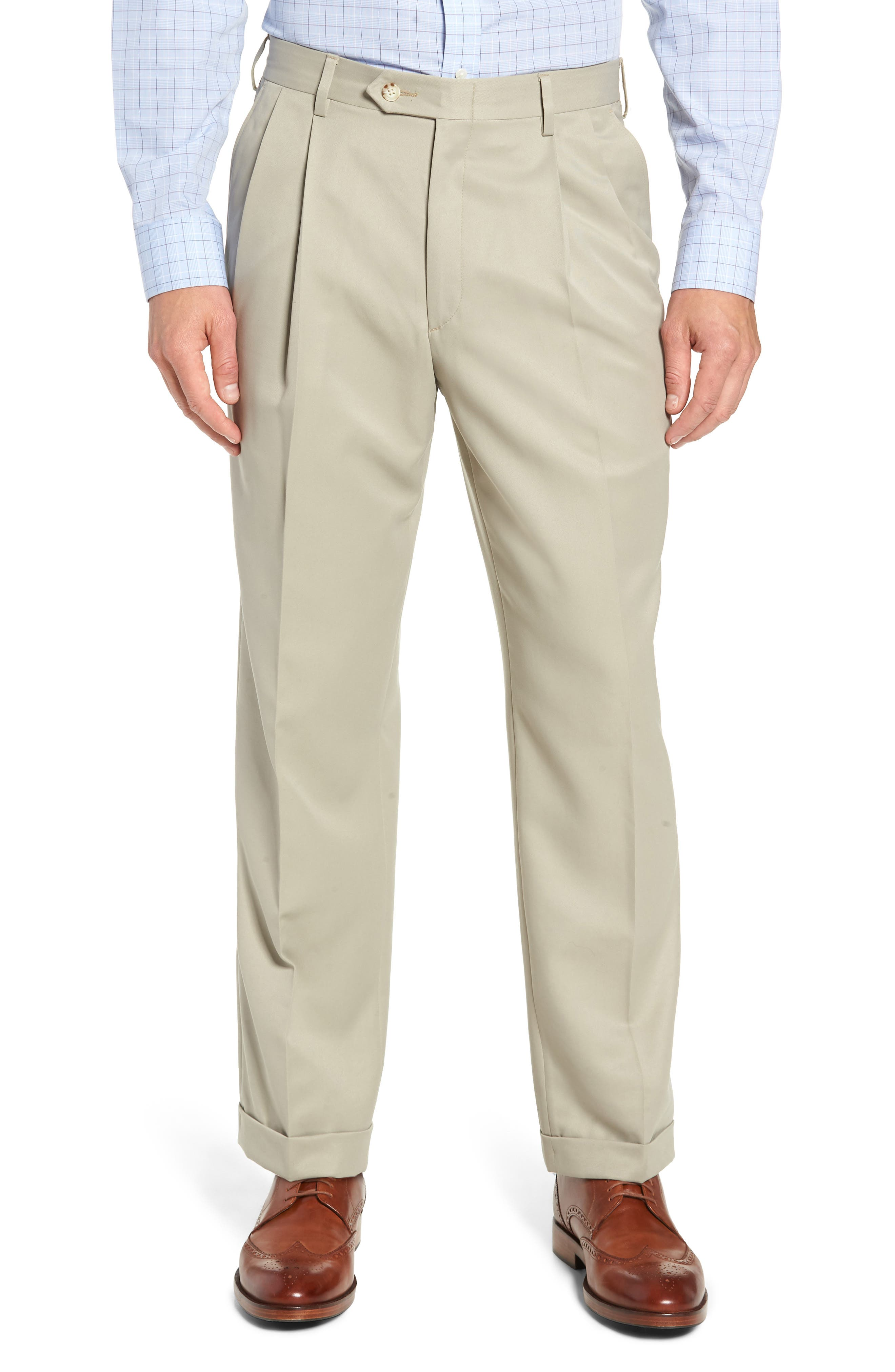 Classic Fit Pleated Microfiber Performance Trousers,                             Main thumbnail 1, color,                             TAUPE
