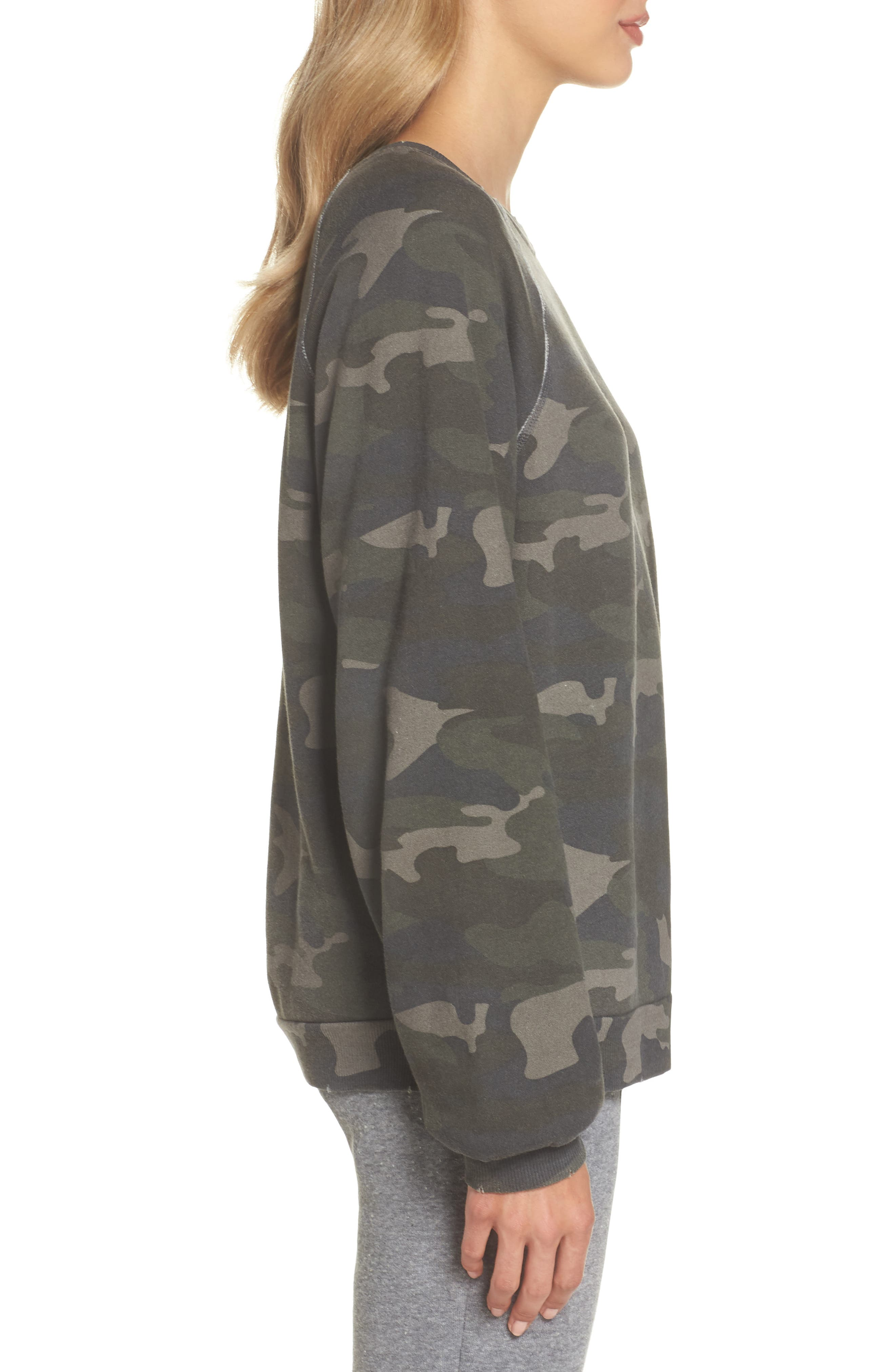 Camo Oversize Sweatshirt,                             Alternate thumbnail 3, color,                             CAMO