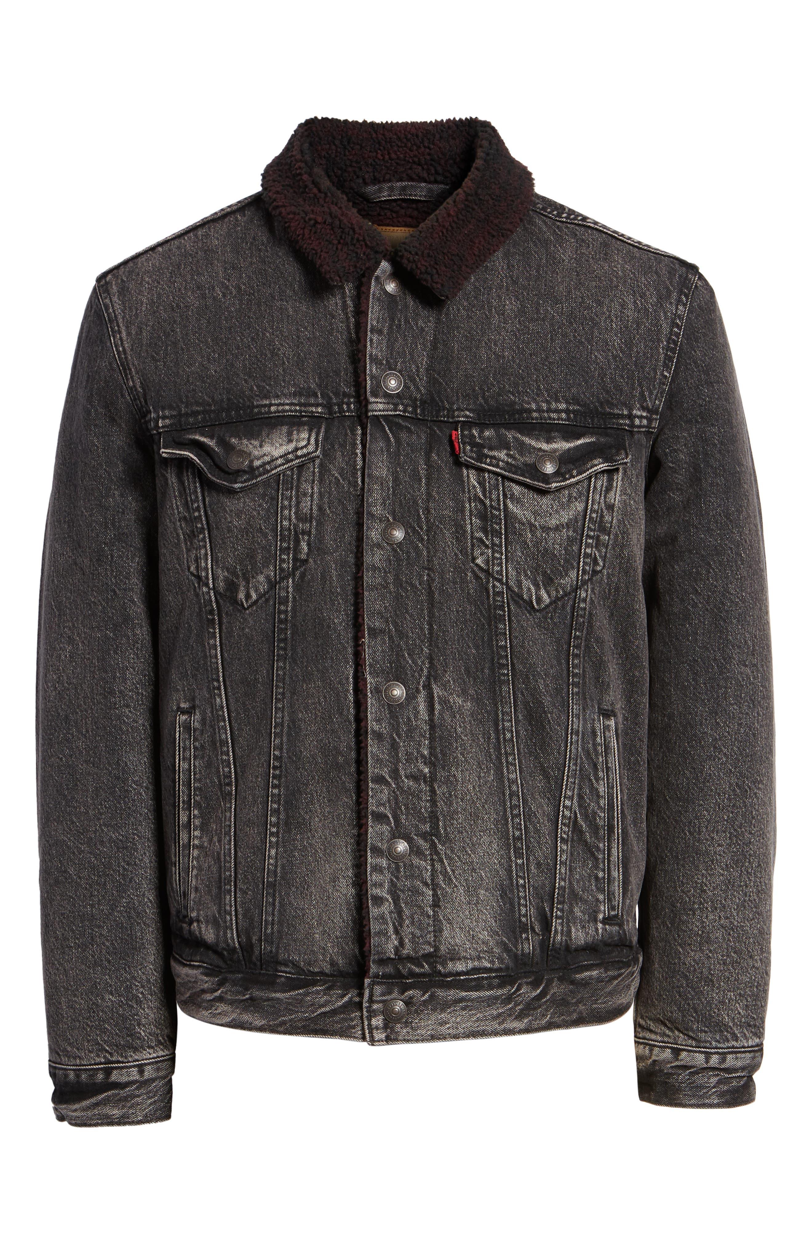 x Justin Timberlake Faux Shearling Collar Trucker Jacket,                             Alternate thumbnail 7, color,                             BRUSTED