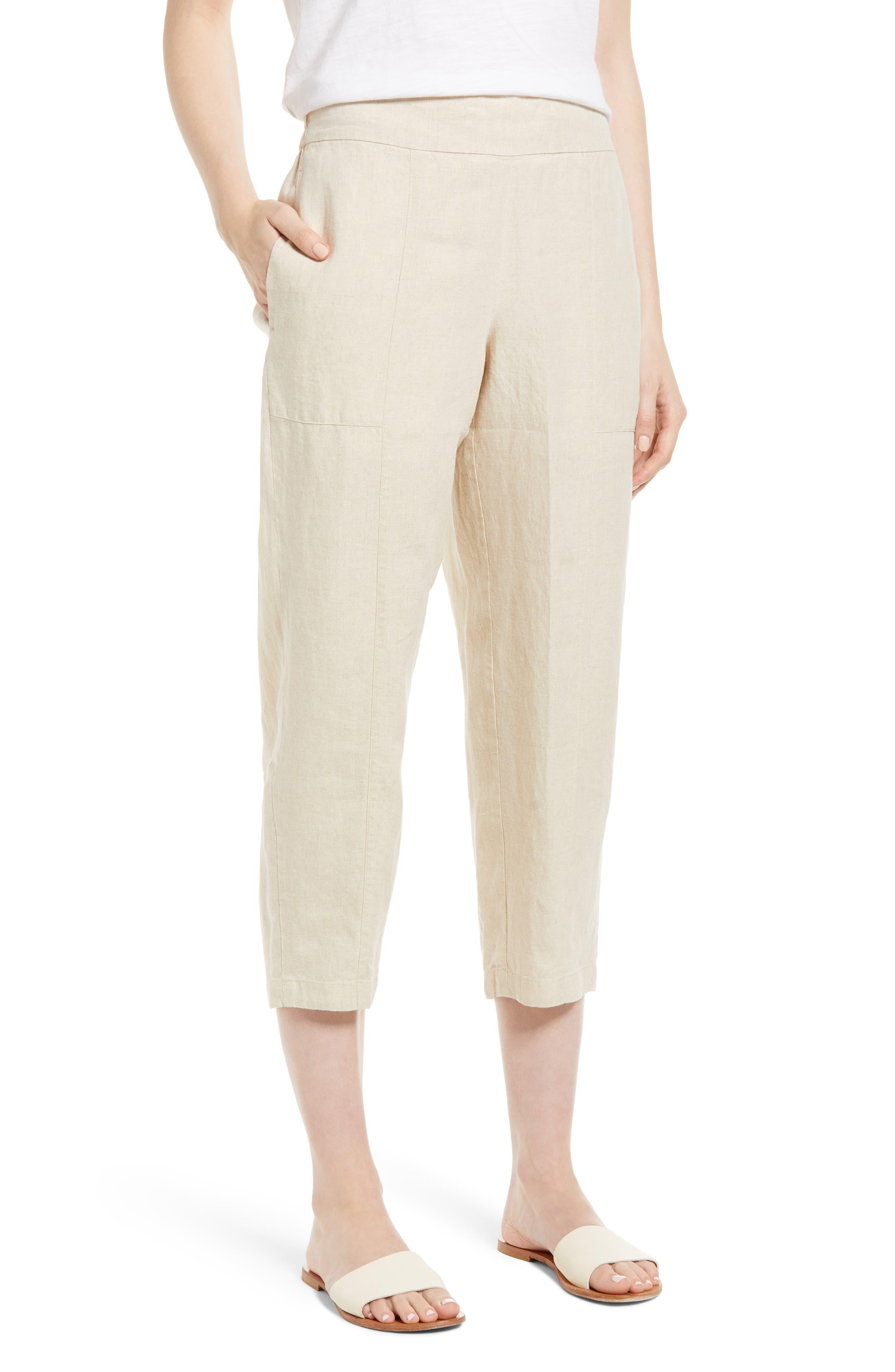 Organic Linen Crop Pants,                             Main thumbnail 4, color,