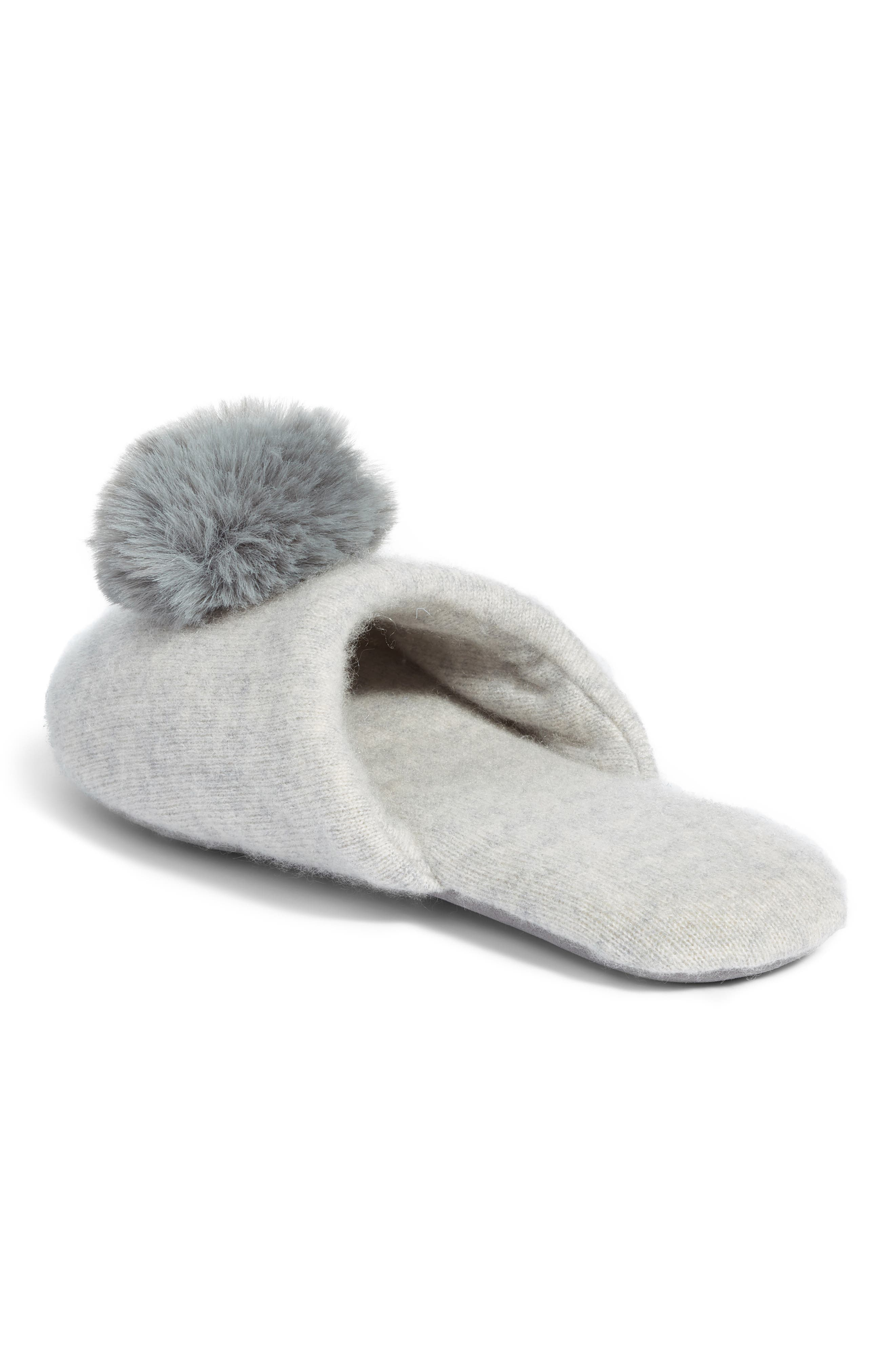 NORDSTROM,                             Wool & Cashmere Slippers with Faux Fur Pompom,                             Alternate thumbnail 2, color,                             GREY HEATHER