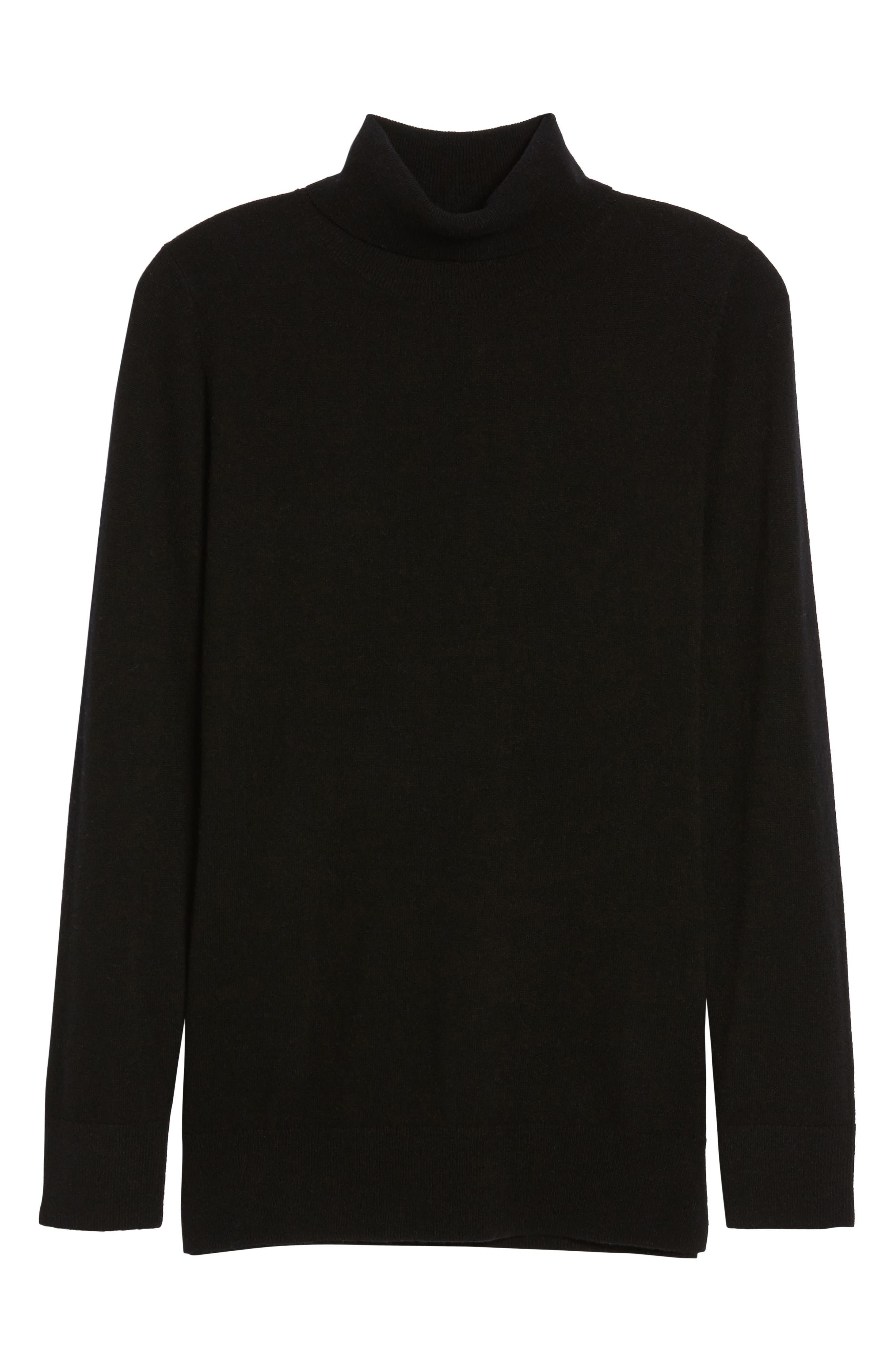 Turtleneck Cashmere Sweater,                             Alternate thumbnail 6, color,                             BLACK