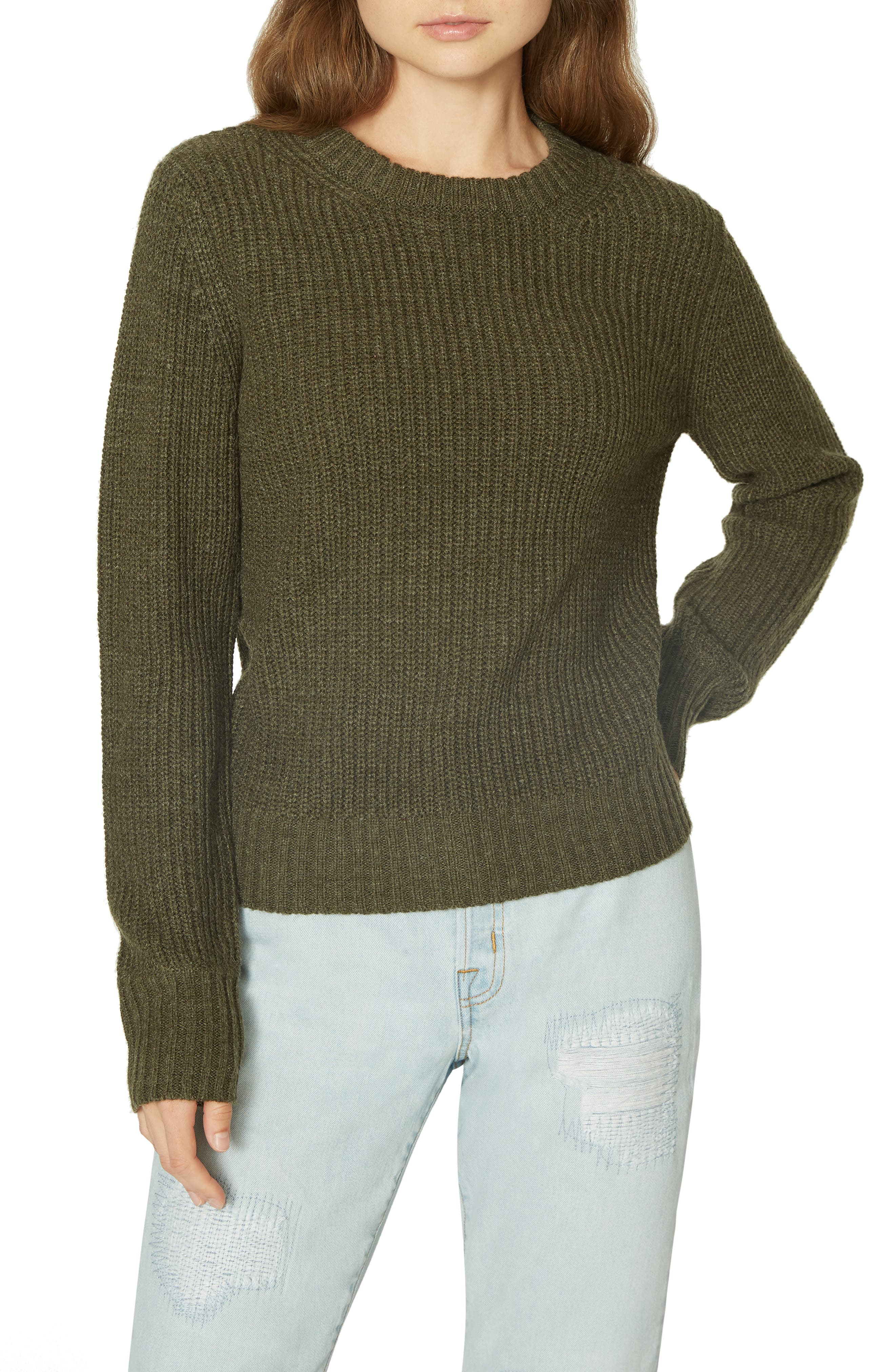 Open Back Sweater,                             Main thumbnail 1, color,                             HEATHER PROSPERITY GREEN