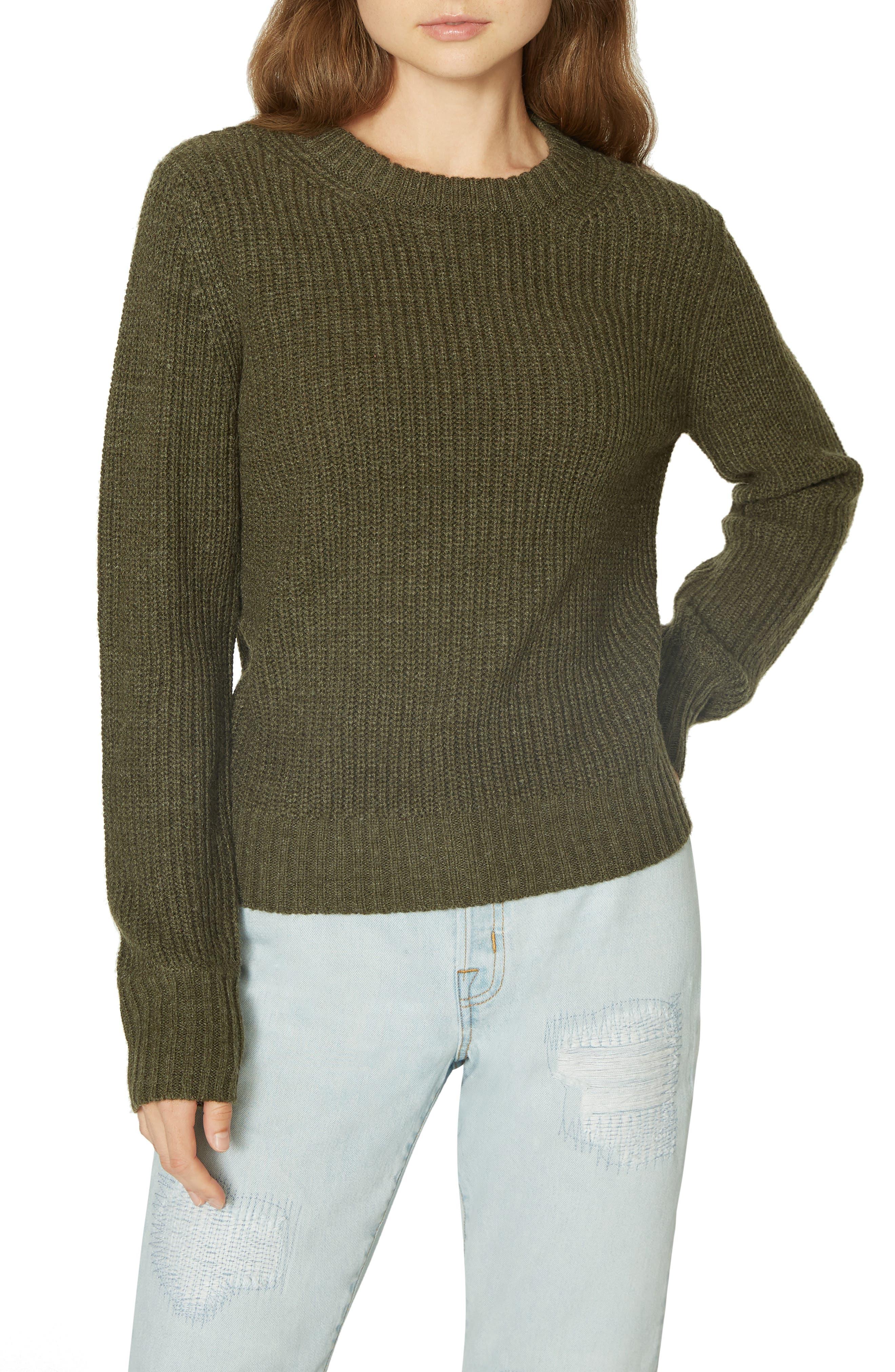 Open Back Sweater,                         Main,                         color, HEATHER PROSPERITY GREEN