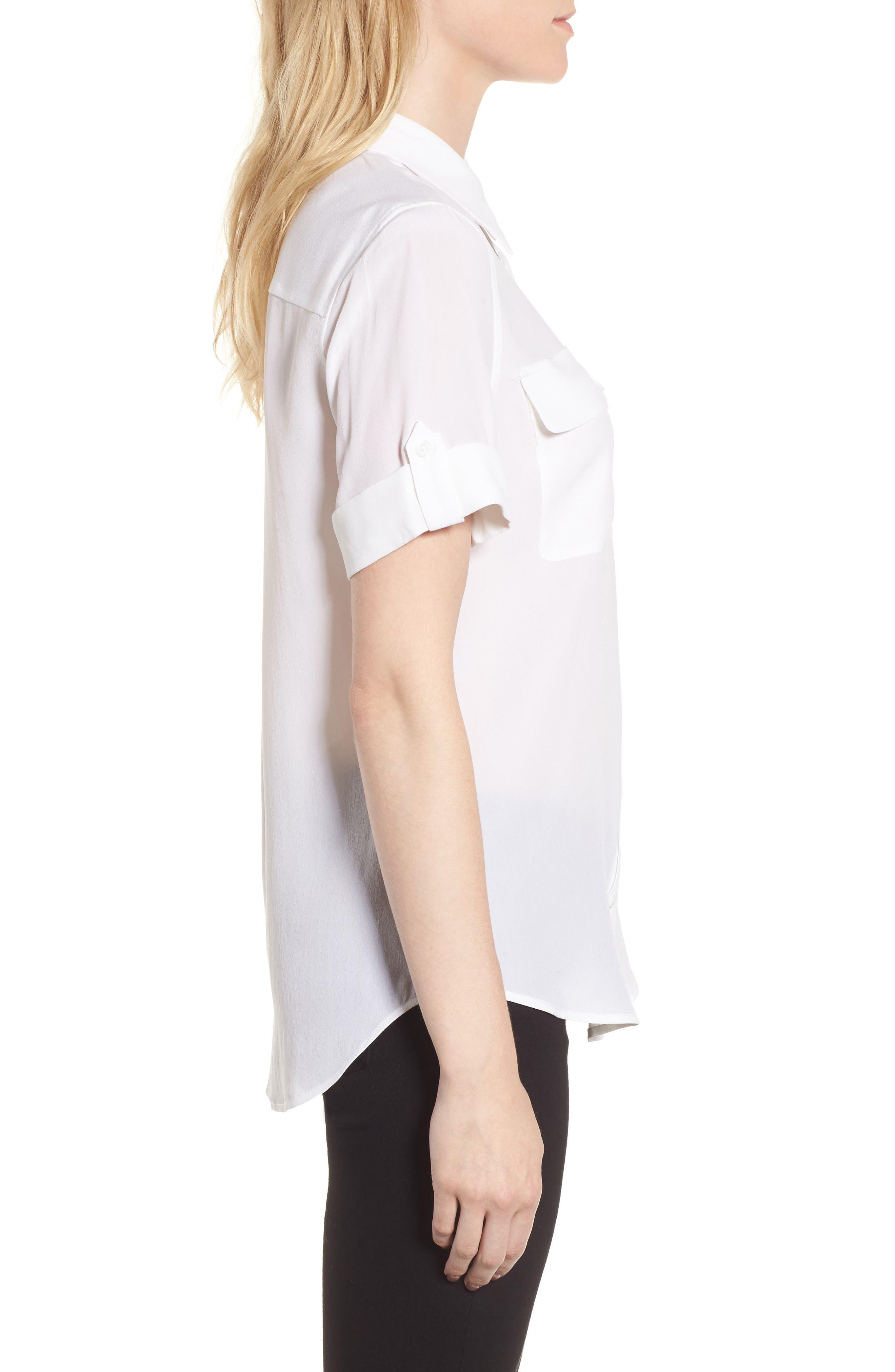 Slim Signature Short Sleeve Silk Shirt,                             Alternate thumbnail 4, color,                             111