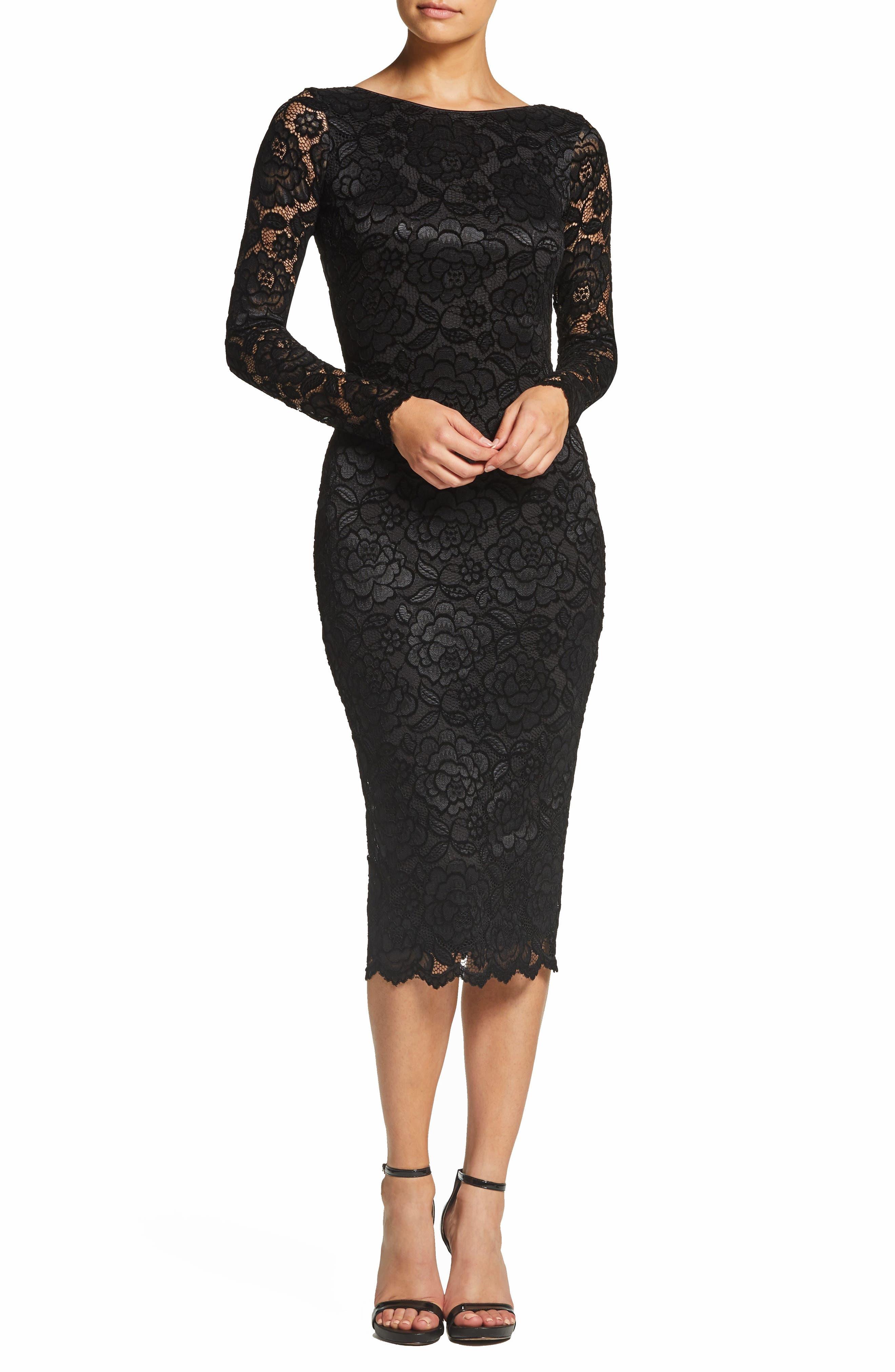 Dress The Population Emery Stretch Lace Body-Con Dress, Black