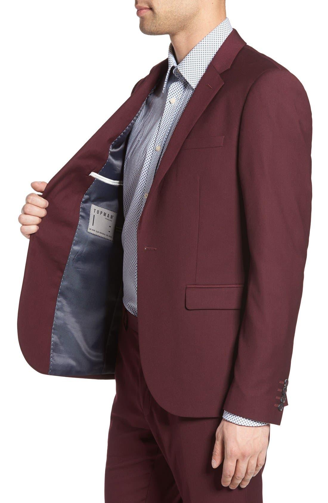 Burgundy Slim Fit Suit Jacket,                             Alternate thumbnail 3, color,                             930