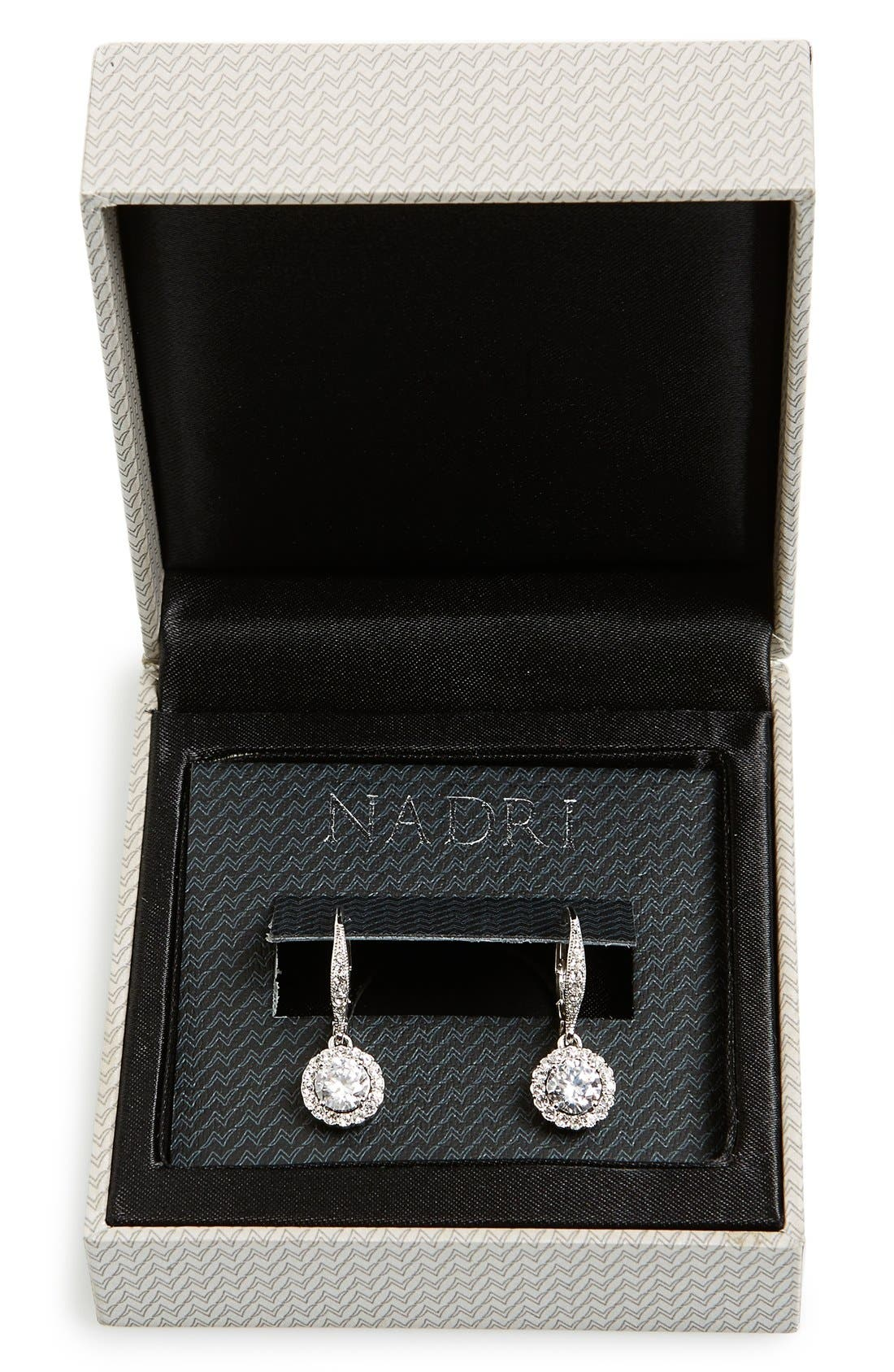 Cubic Zirconia Drop Earrings,                             Alternate thumbnail 2, color,                             SILVER/ CLEAR CRYSTAL