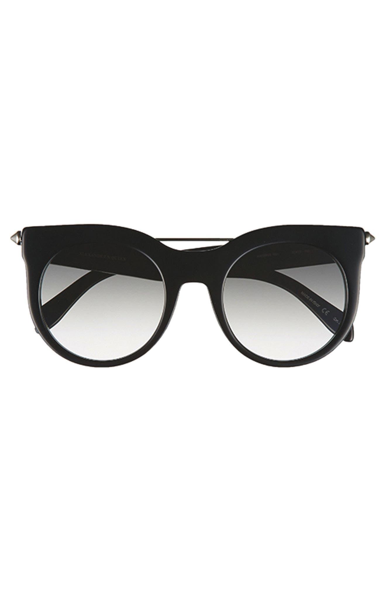 52mm Cat Eye Sunglasses,                             Alternate thumbnail 4, color,                             001
