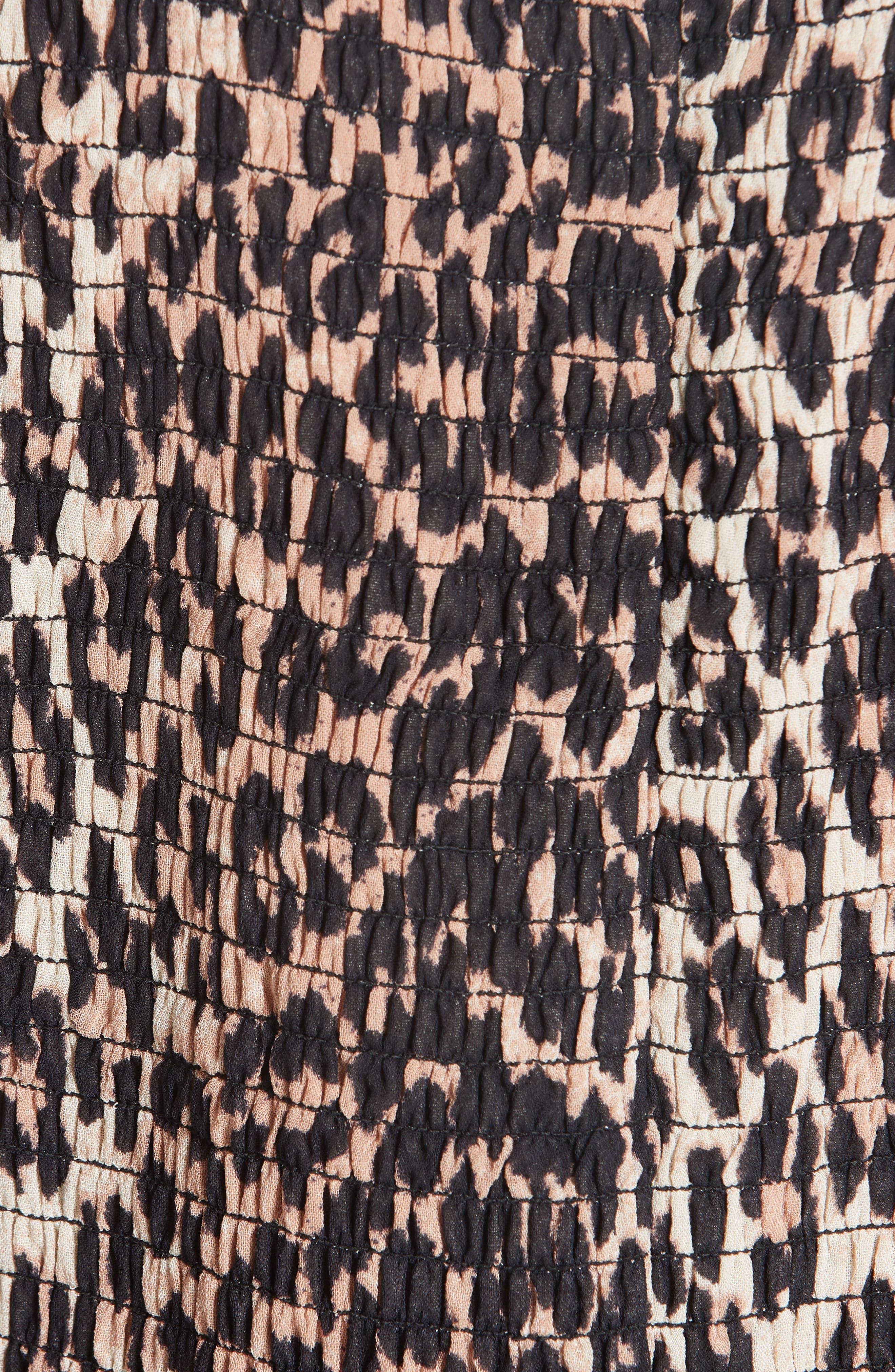 Print Georgette Dress,                             Alternate thumbnail 6, color,                             LEOPARD 943