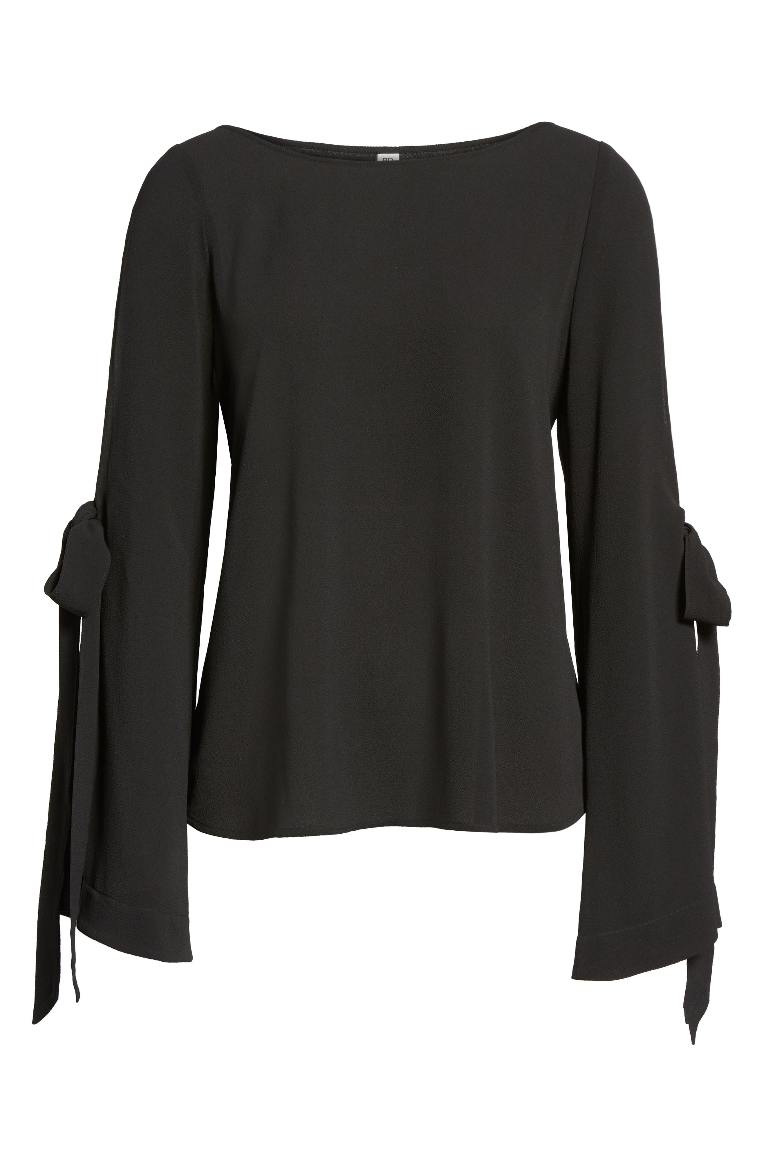 Tie Sleeve Blouse,                             Alternate thumbnail 6, color,                             001