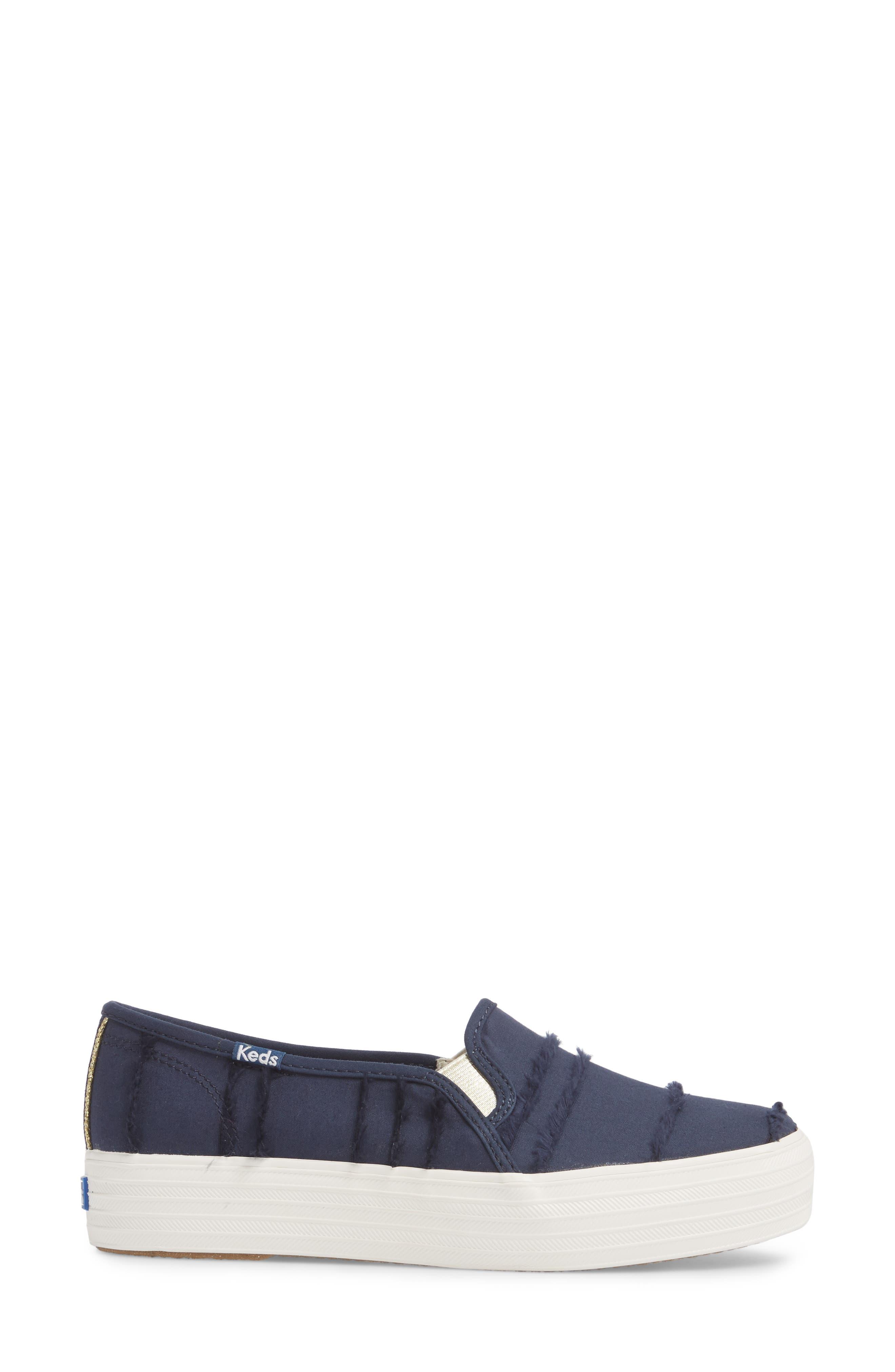 Triple Decker Eyelash Fringe Slip-On Sneaker,                             Alternate thumbnail 3, color,                             400