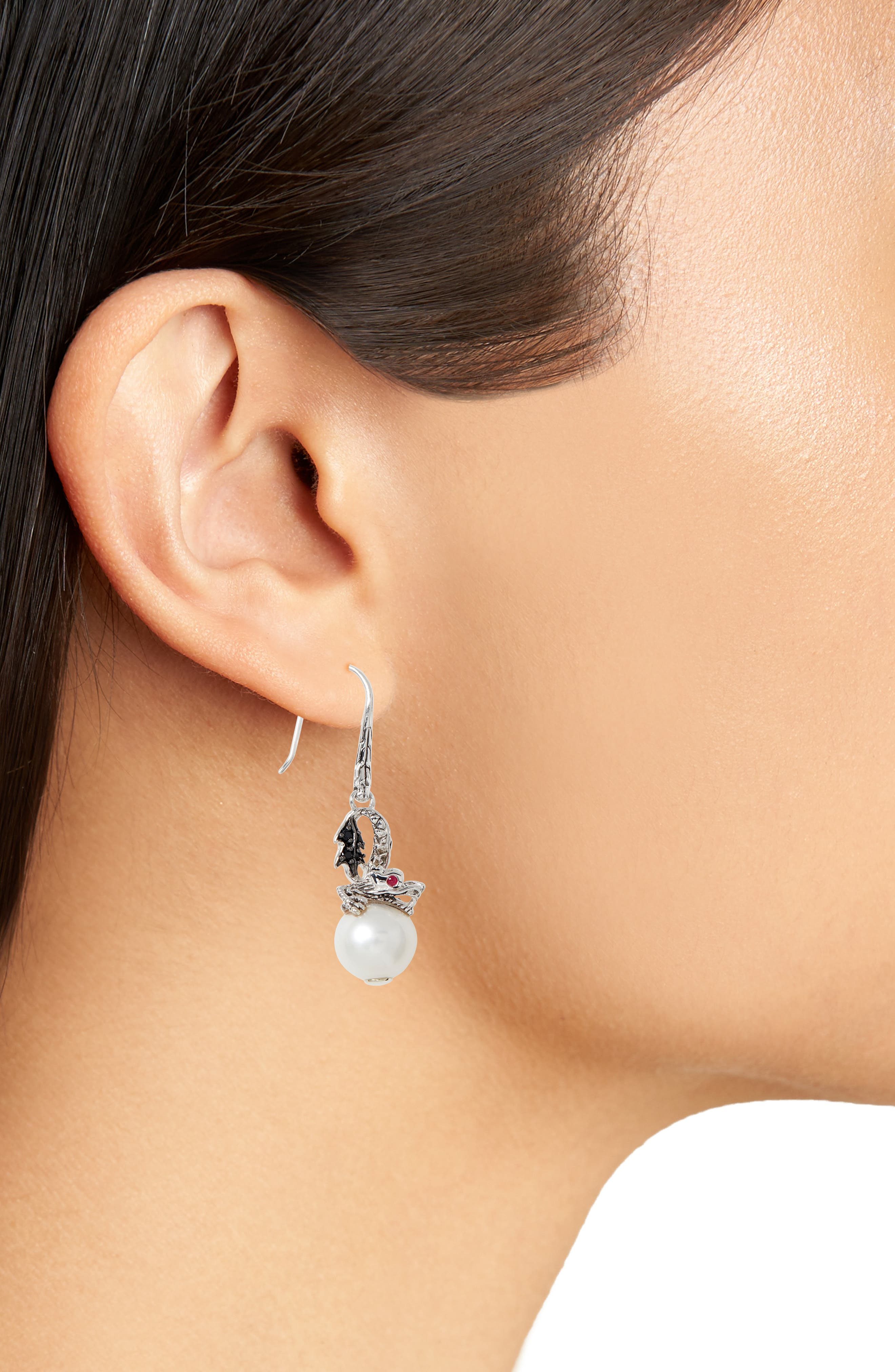 'Naga - Lava' Dragon & Pearl Drop Earrings,                             Alternate thumbnail 2, color,                             SILVER