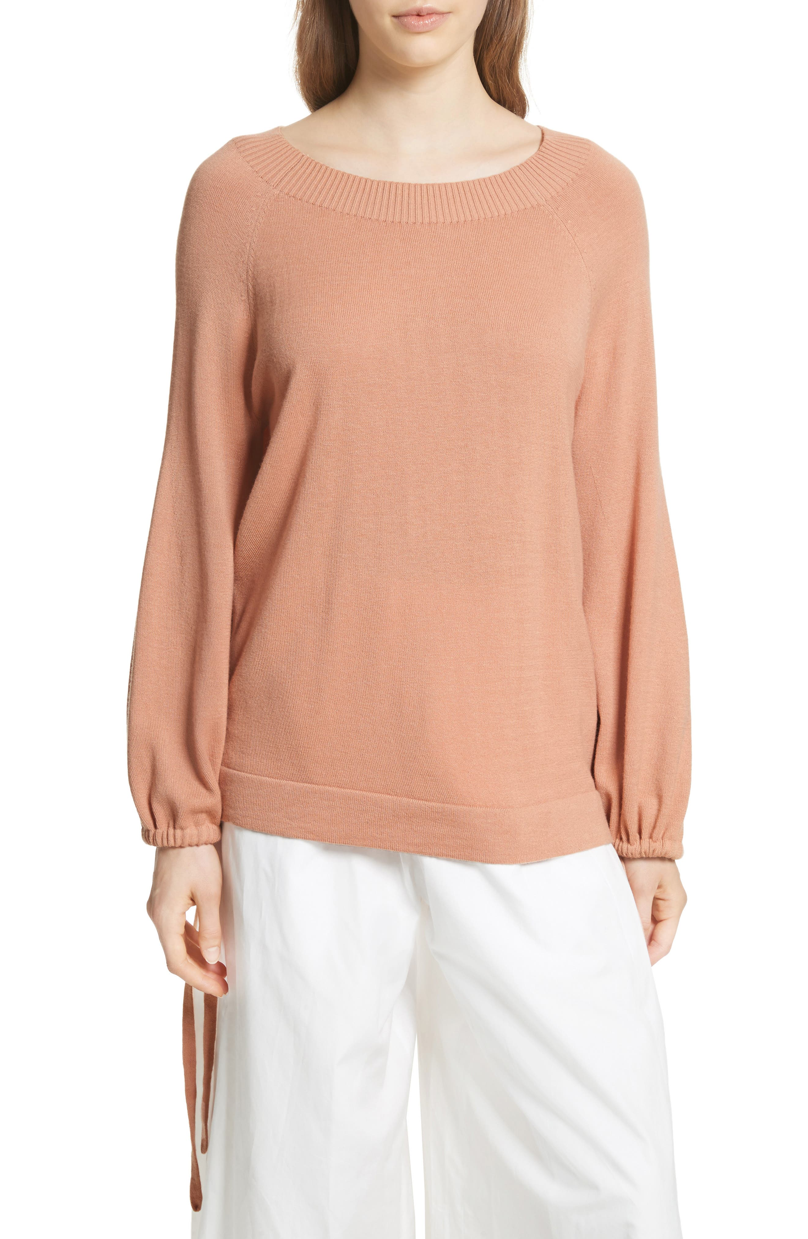Scrunch Sleeve Cashmere Sweater,                             Main thumbnail 2, color,