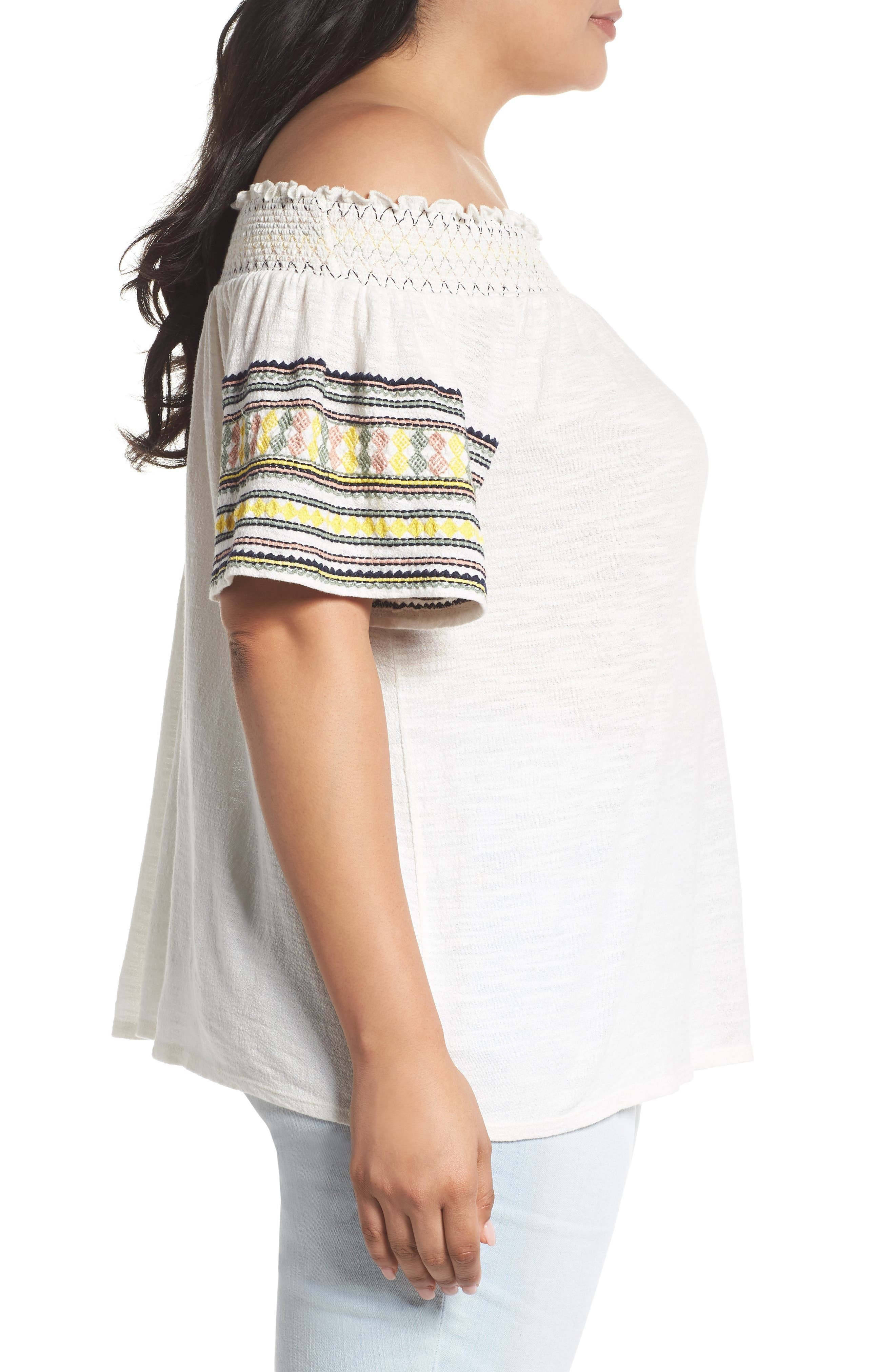 Embroidered Off the Shoulder Top,                             Alternate thumbnail 3, color,                             900