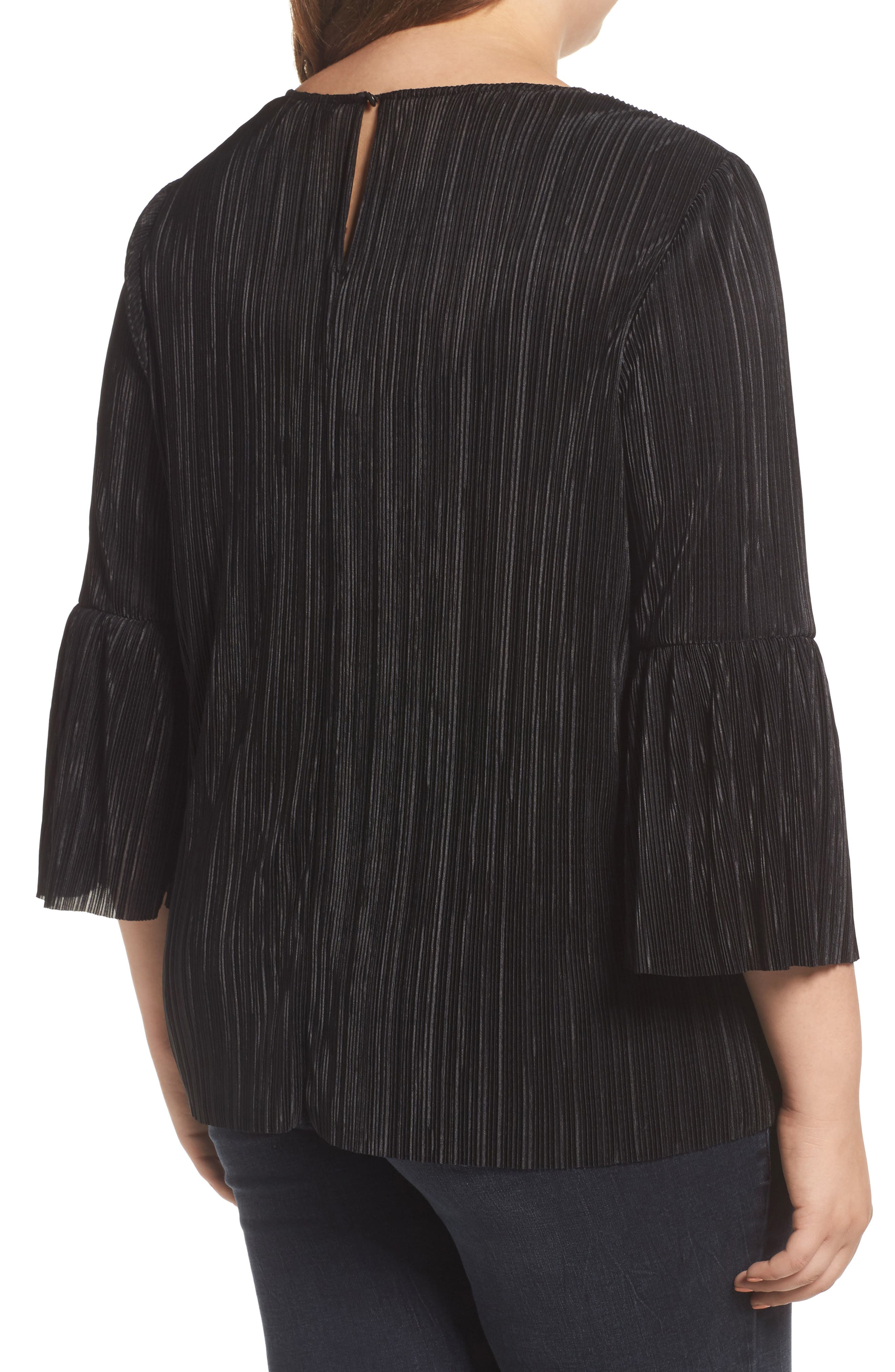 Pleated Knit Bell Sleeve Top,                             Alternate thumbnail 2, color,                             010