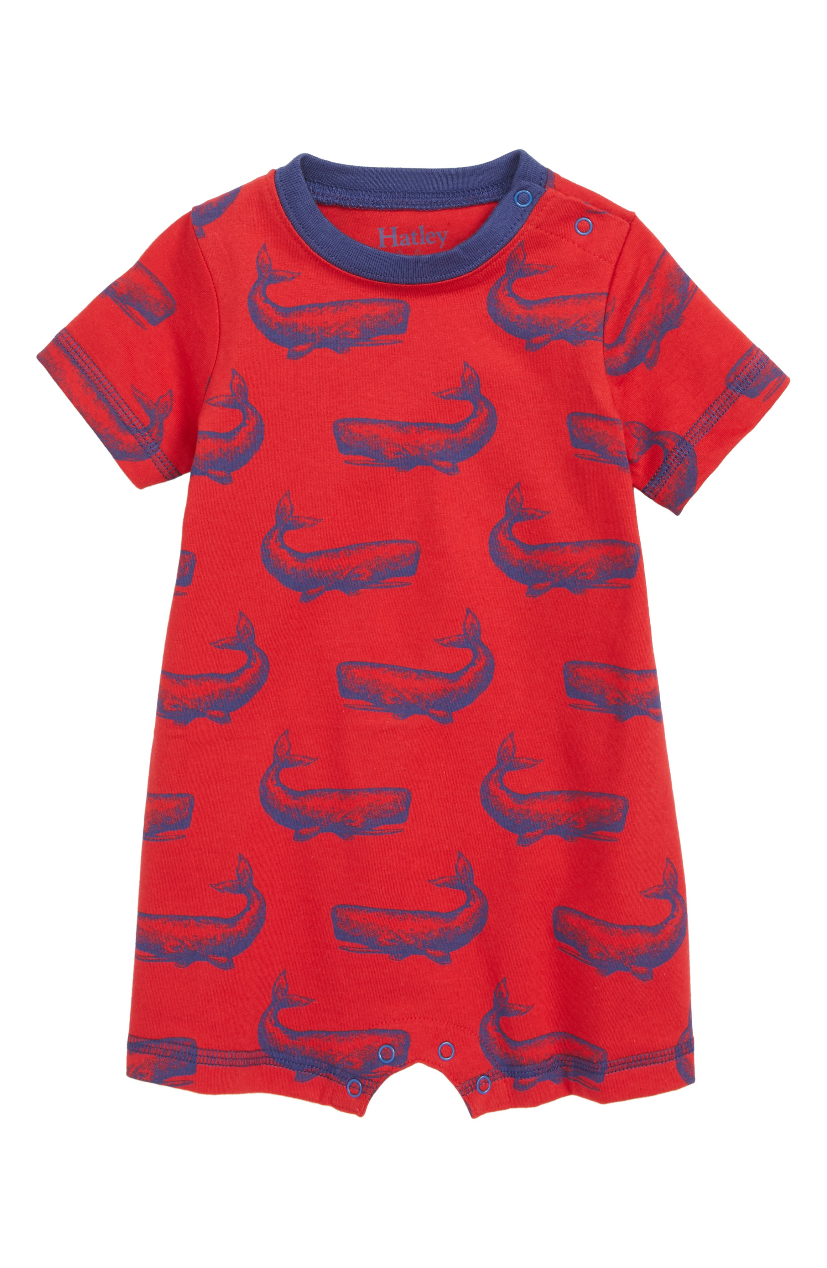 Whale Pod Romper,                             Main thumbnail 1, color,                             RED