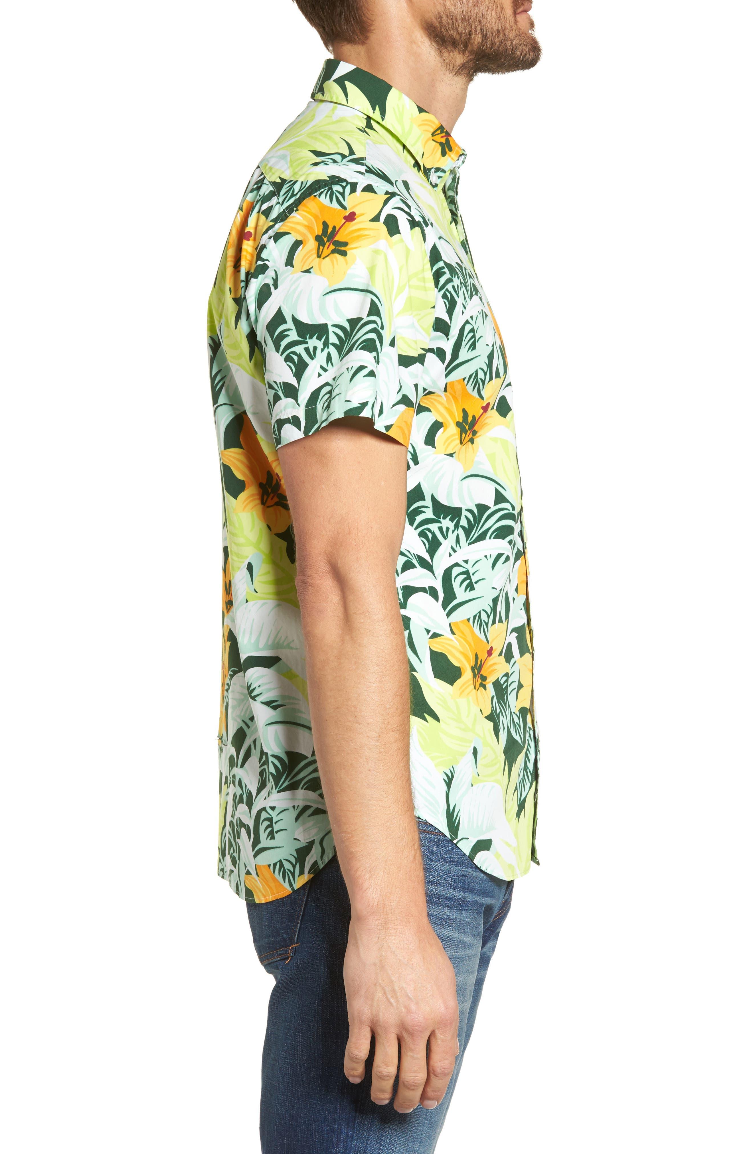 Slim Fit Tropical Sport Shirt,                             Alternate thumbnail 3, color,                             100