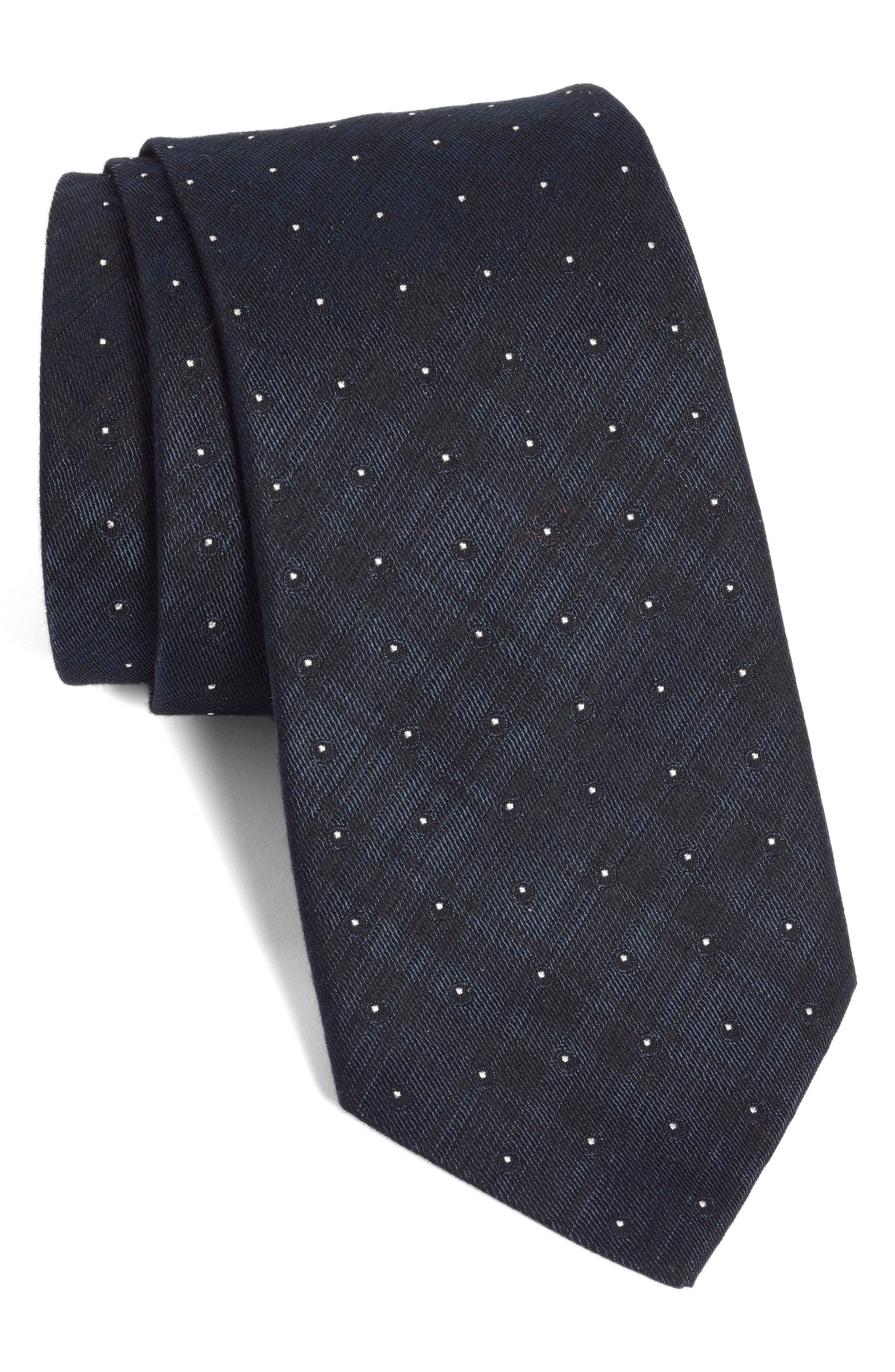 Dot Crosshatch Tie, Main, color, NAVY