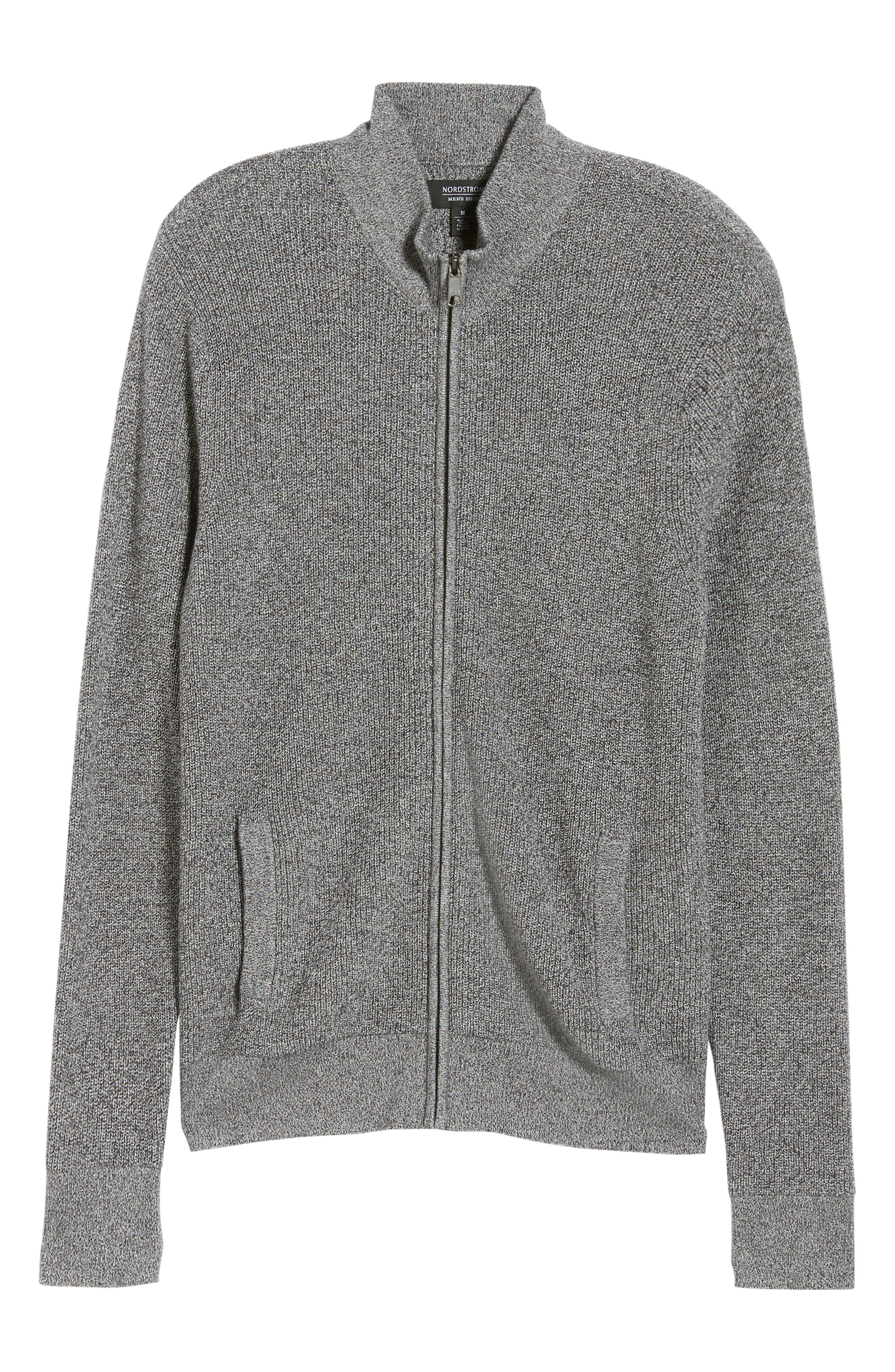 Marled Mock Neck Zip Sweater,                             Alternate thumbnail 6, color,                             BLACK IVORY MARL