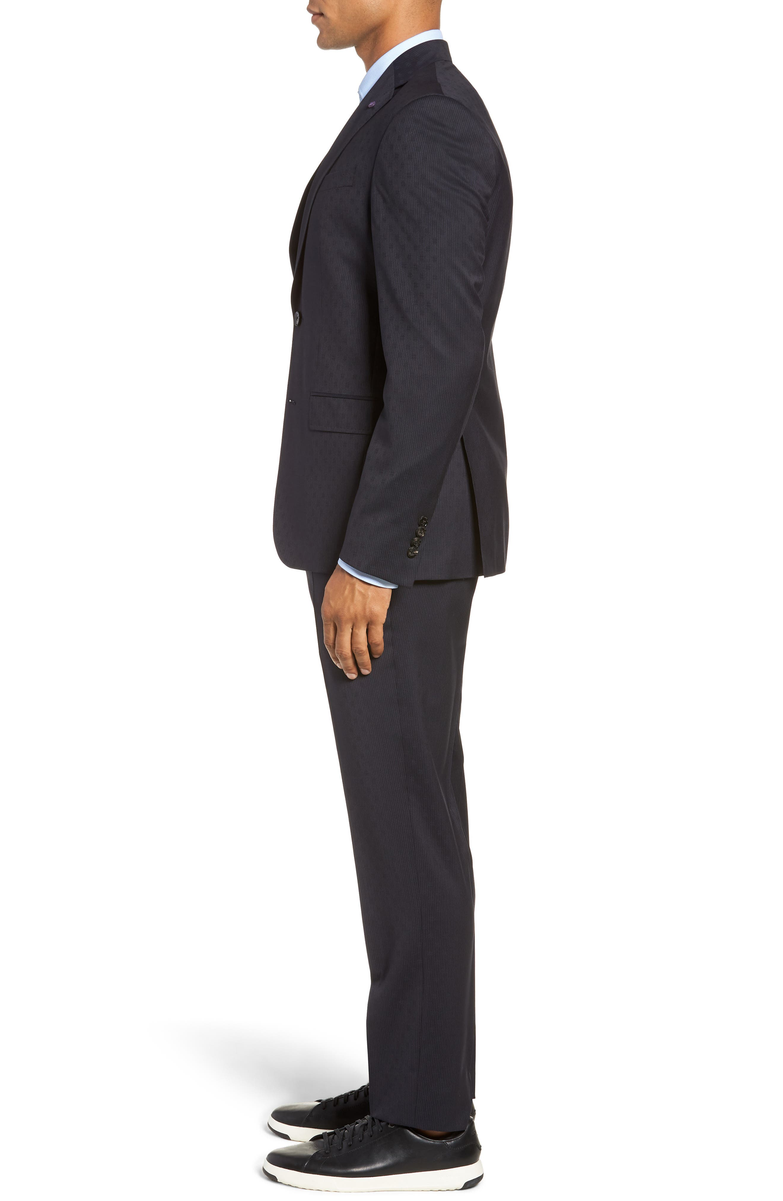 Roger Extra Trim Fit Stripe Wool Suit,                             Alternate thumbnail 3, color,                             NAVY STRIPE