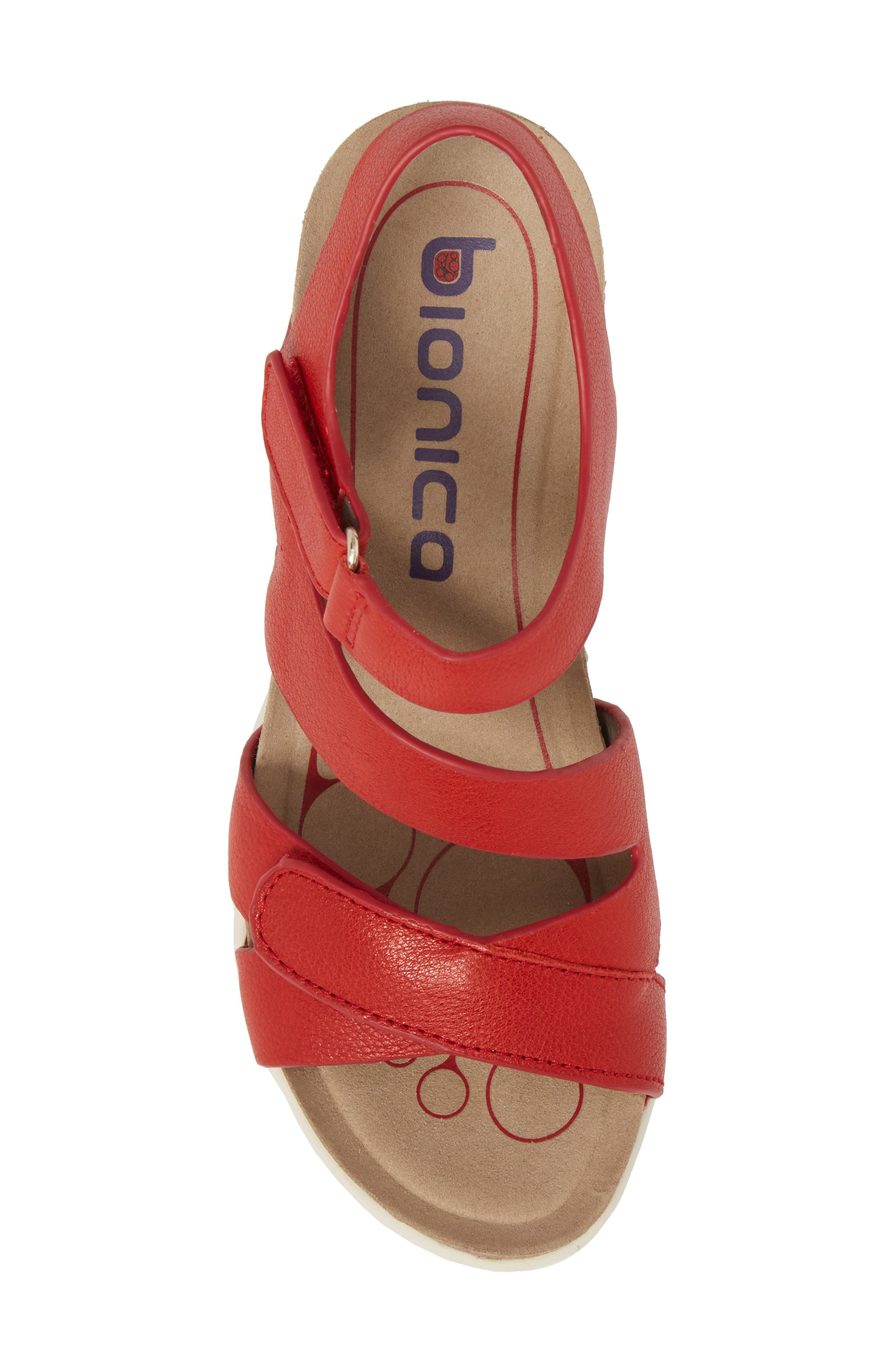 Passion Wedge Sandal,                             Alternate thumbnail 5, color,                             FIRE RED LEATHER