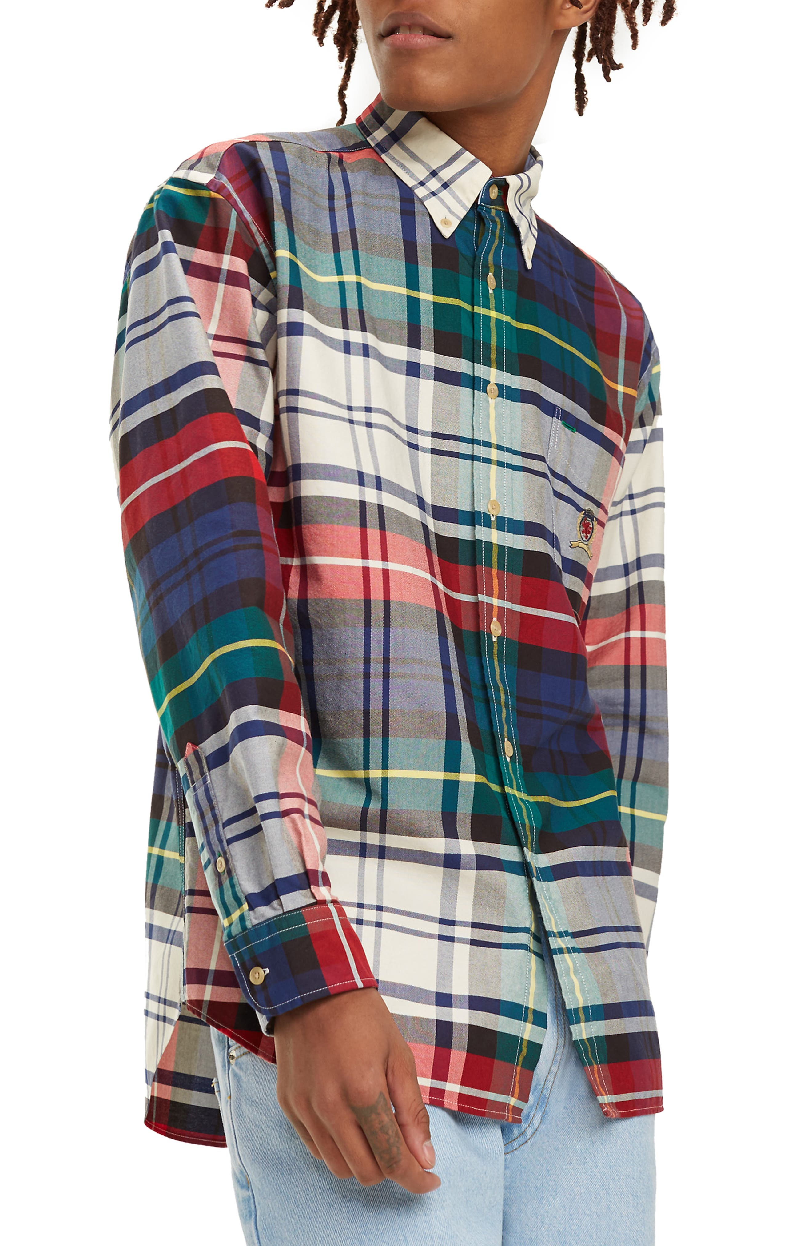 TJM Plaid Crest Sport Shirt,                         Main,                         color, CHECK DARK SAPPHIRE / MULTI