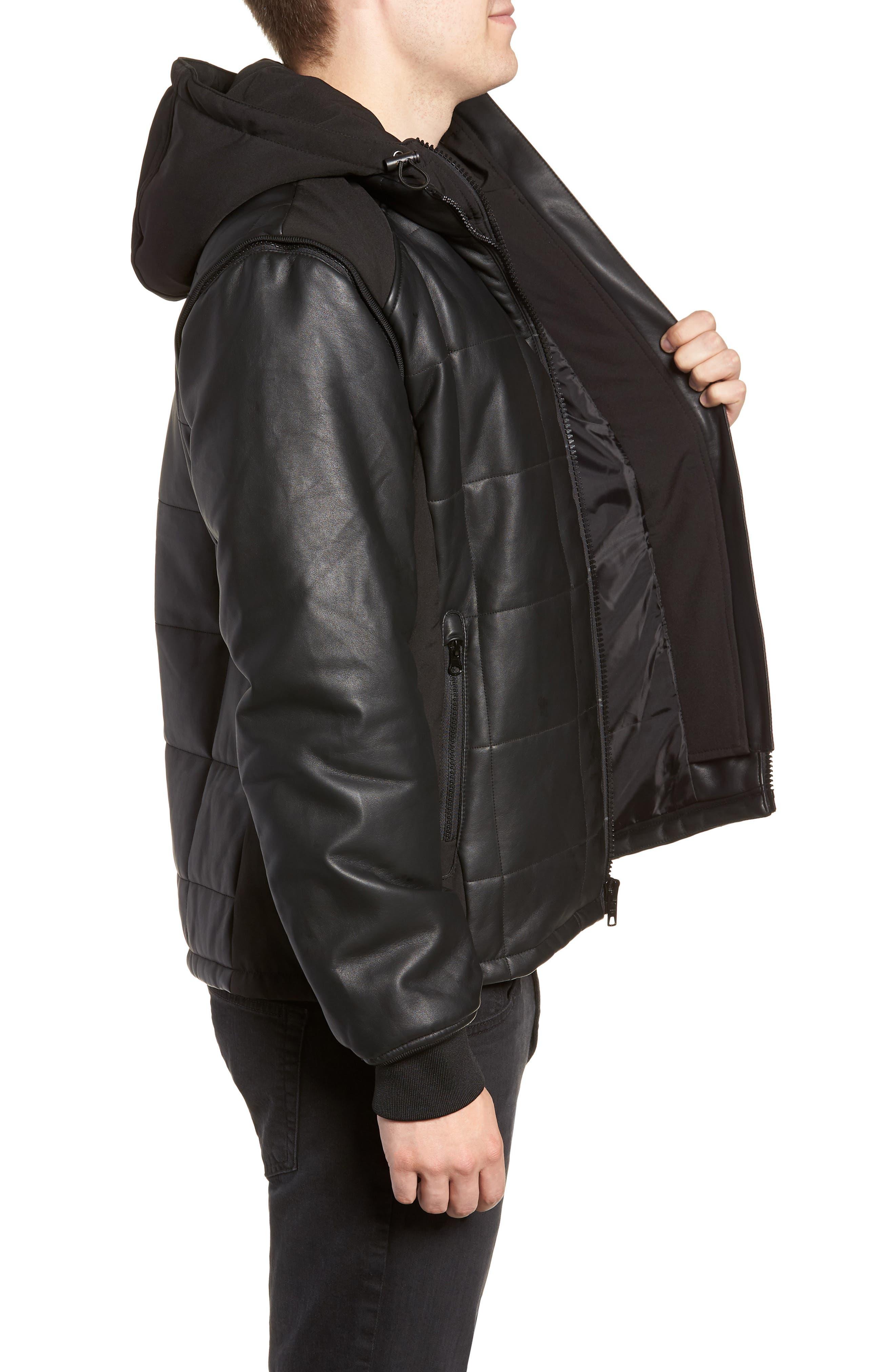 Quilted Convertible Vest/Jacket,                             Alternate thumbnail 3, color,                             BLACK