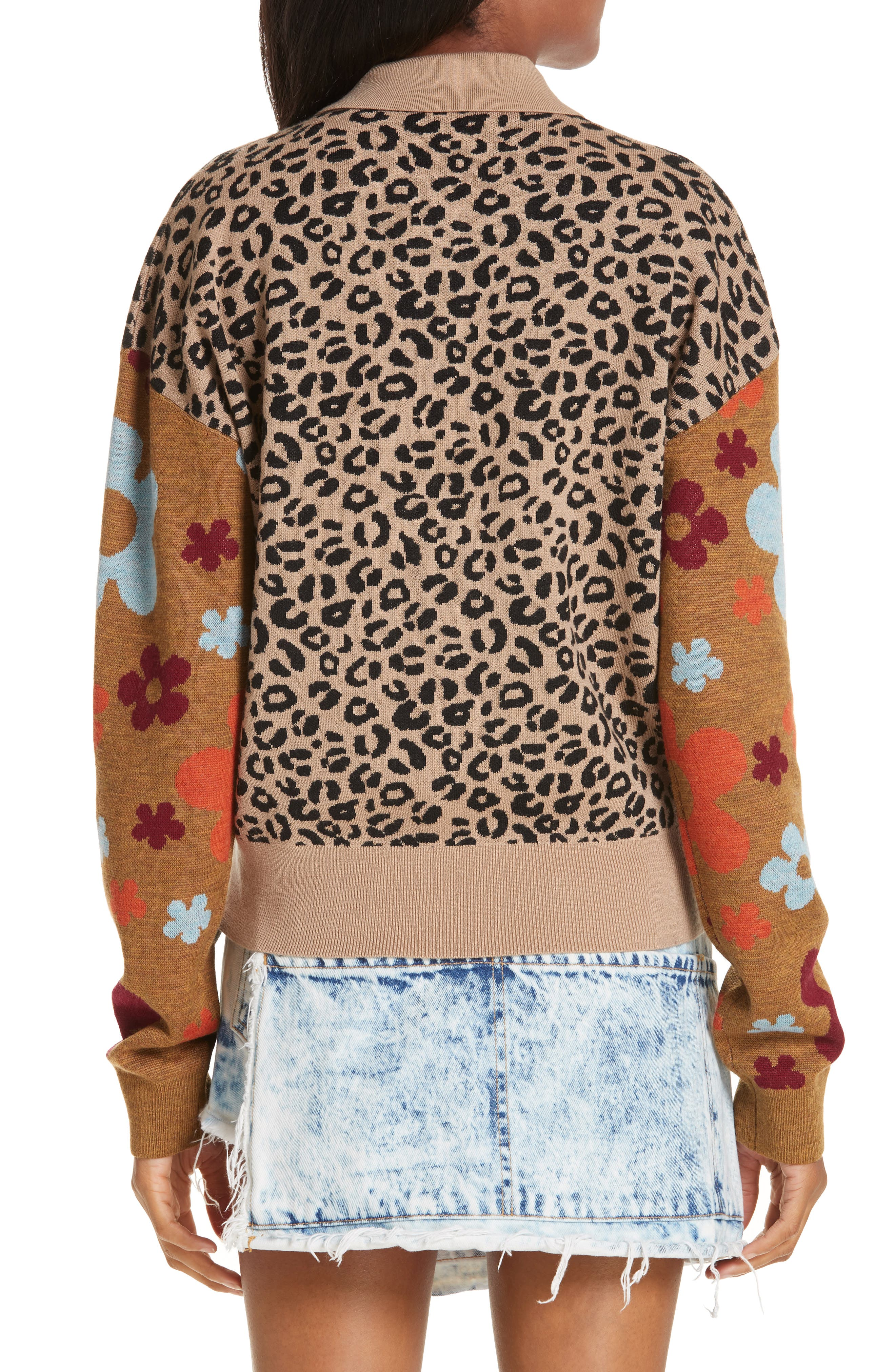 SANDY LIANG,                             Paw Paw Polo Sweater,                             Alternate thumbnail 2, color,                             LEOPARD FLORAL