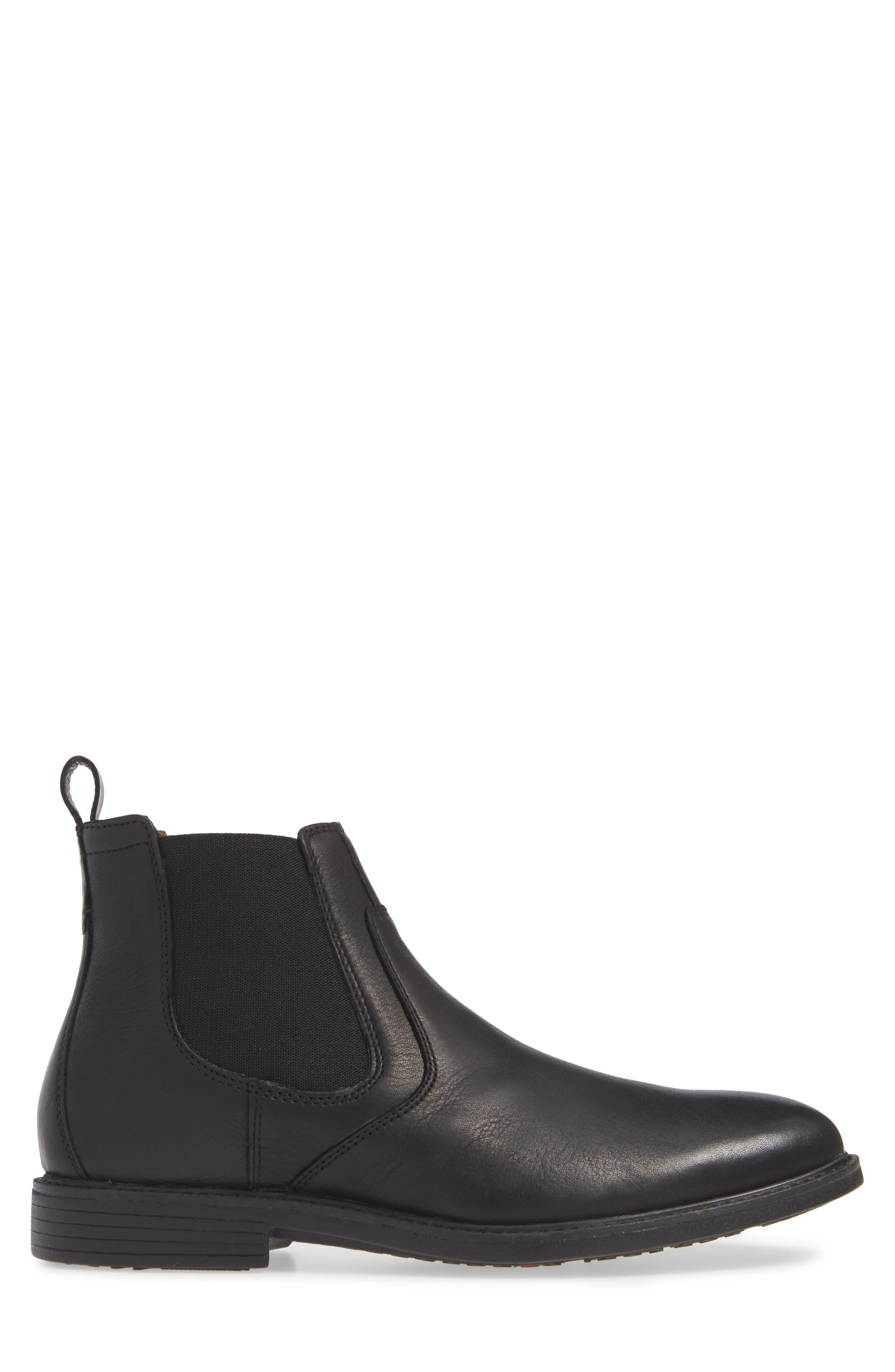 Hollis Waterproof Chelsea Boot,                             Alternate thumbnail 3, color,                             BLACK LEATHER