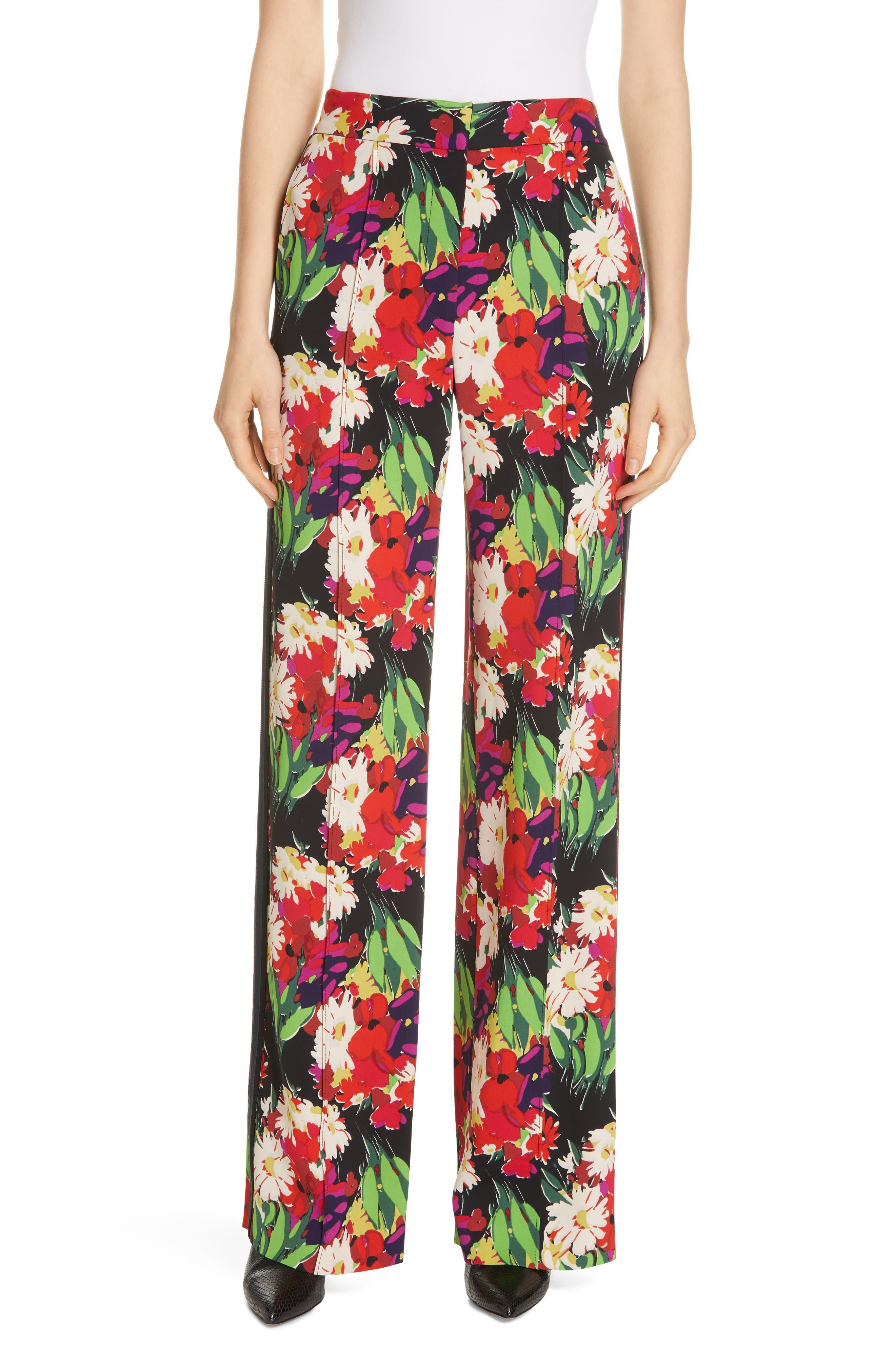 VERONICA BEARD Grigore Floral Print Wide Leg Pants, Main, color, BLACK MULTI