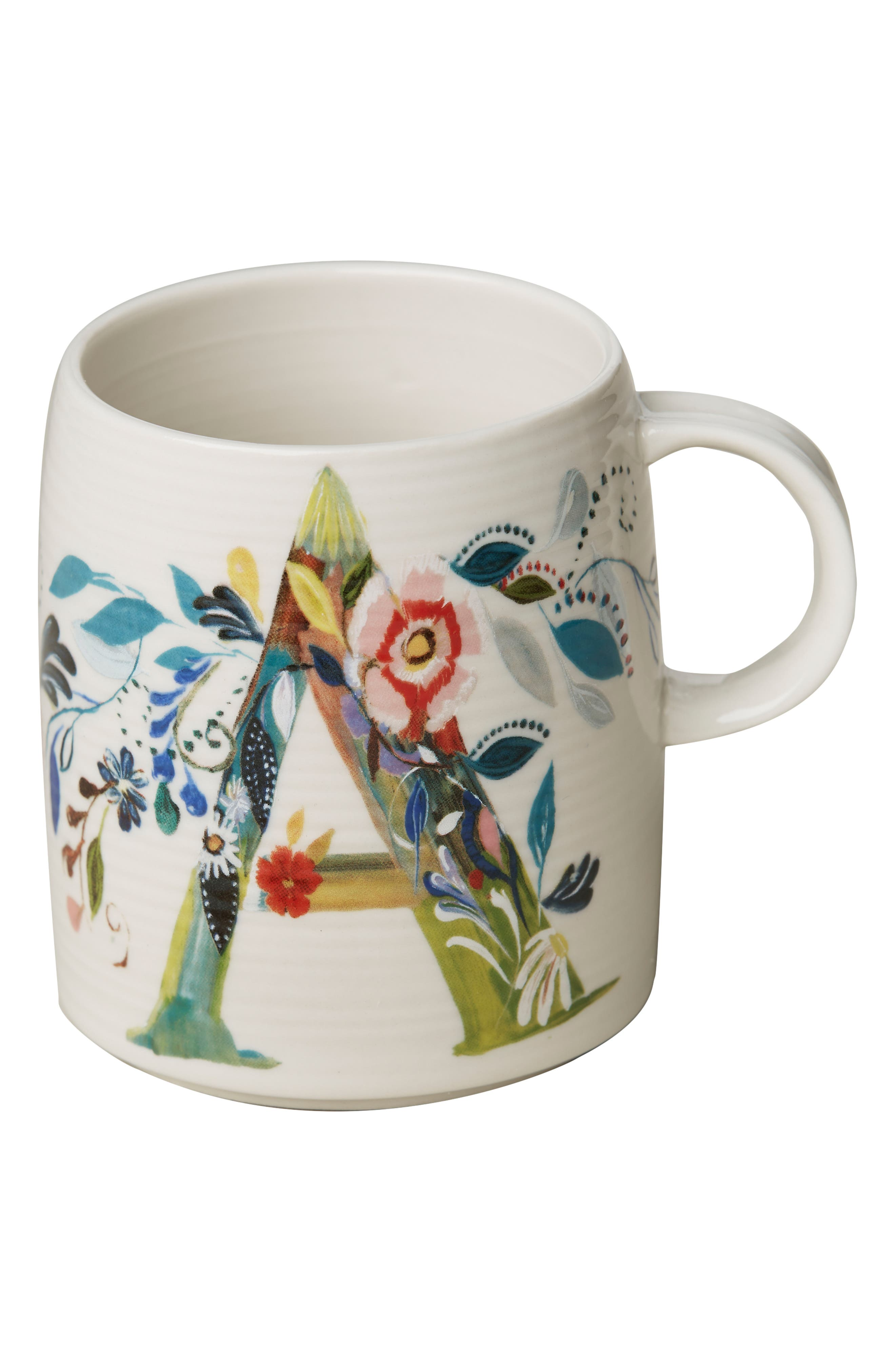 Petal Palette Monogram Mug,                             Alternate thumbnail 3, color,                             PINK - A