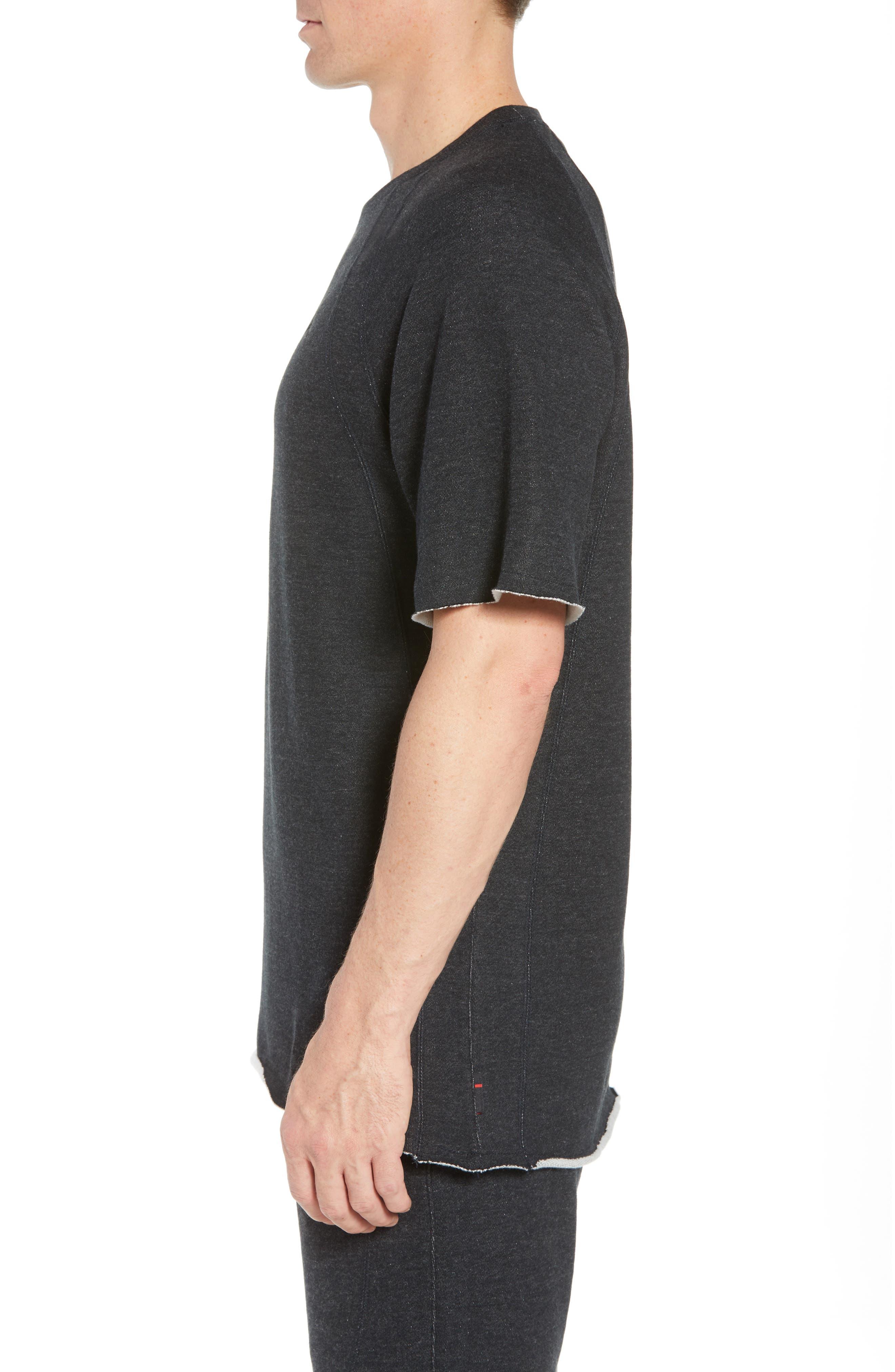 Wings Light Short Sleeve Sweatshirt,                             Alternate thumbnail 3, color,                             BLACK HEATHER/ BLACK