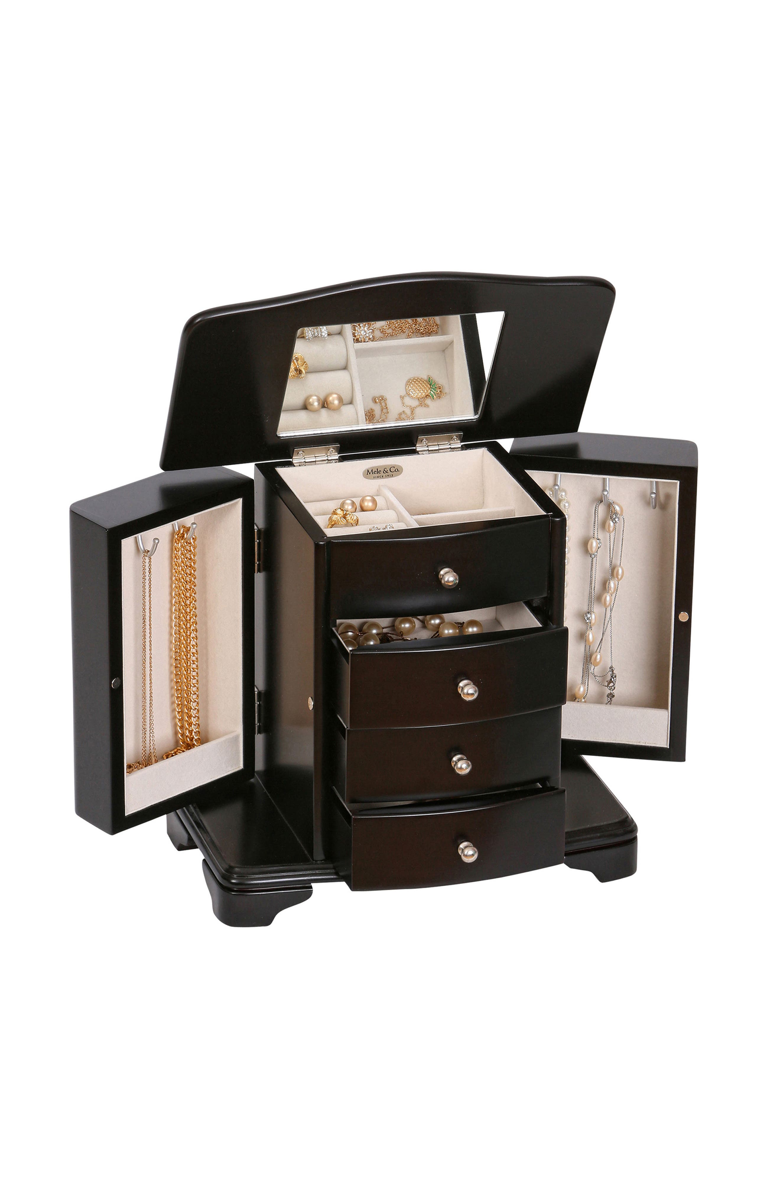 Dane Wooden Jewelry Box,                             Alternate thumbnail 2, color,                             BLACK