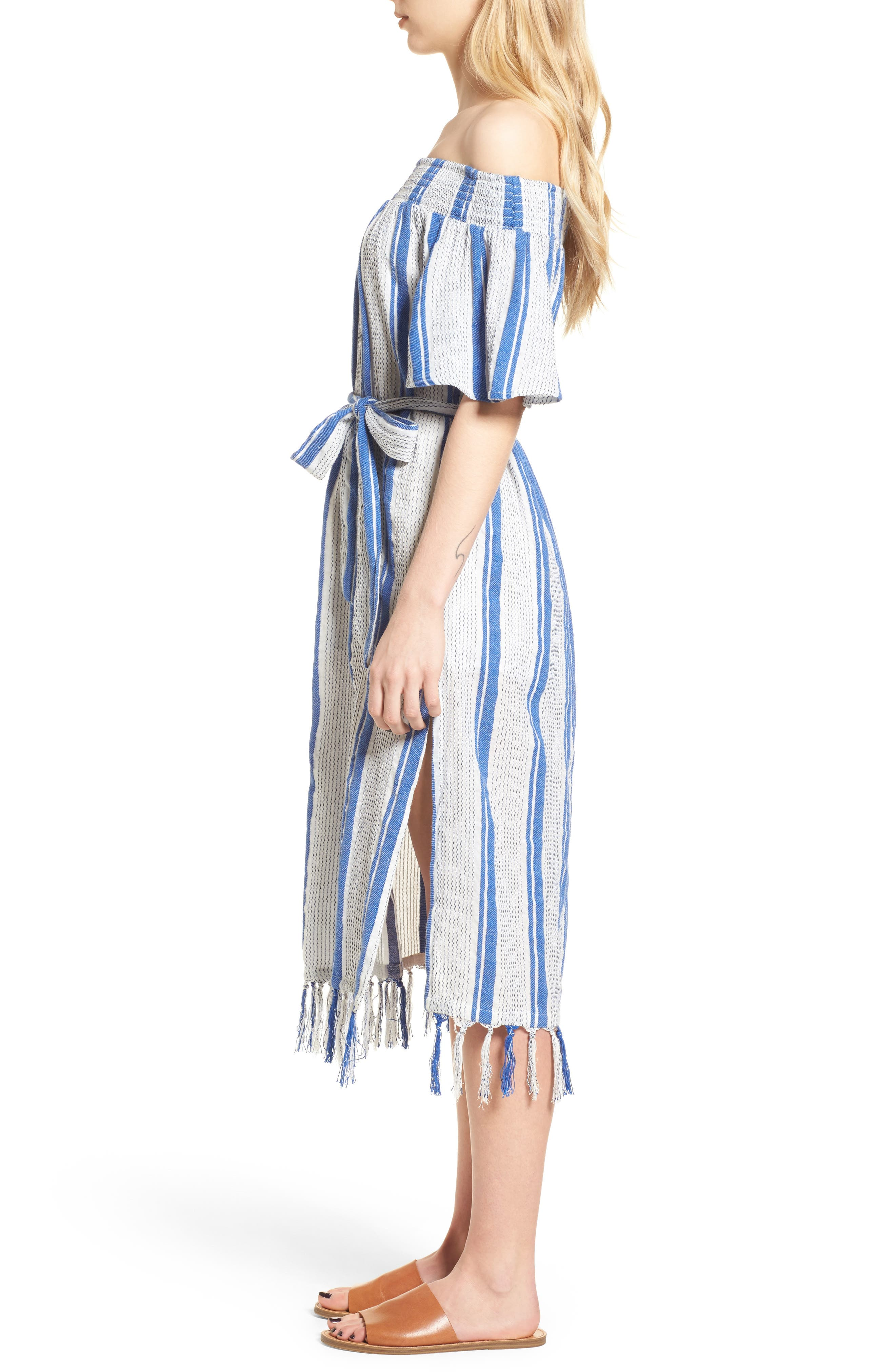Bora Bora Tie Waist Dress,                             Alternate thumbnail 3, color,                             100