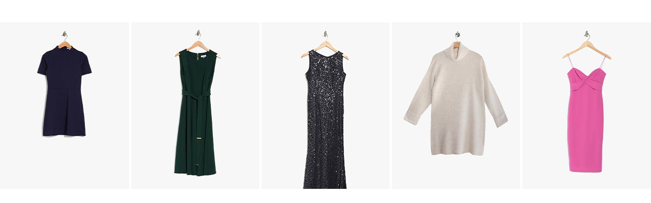 Women's dresses: casual, day, wedding guest, sweater, and cocktail and party.