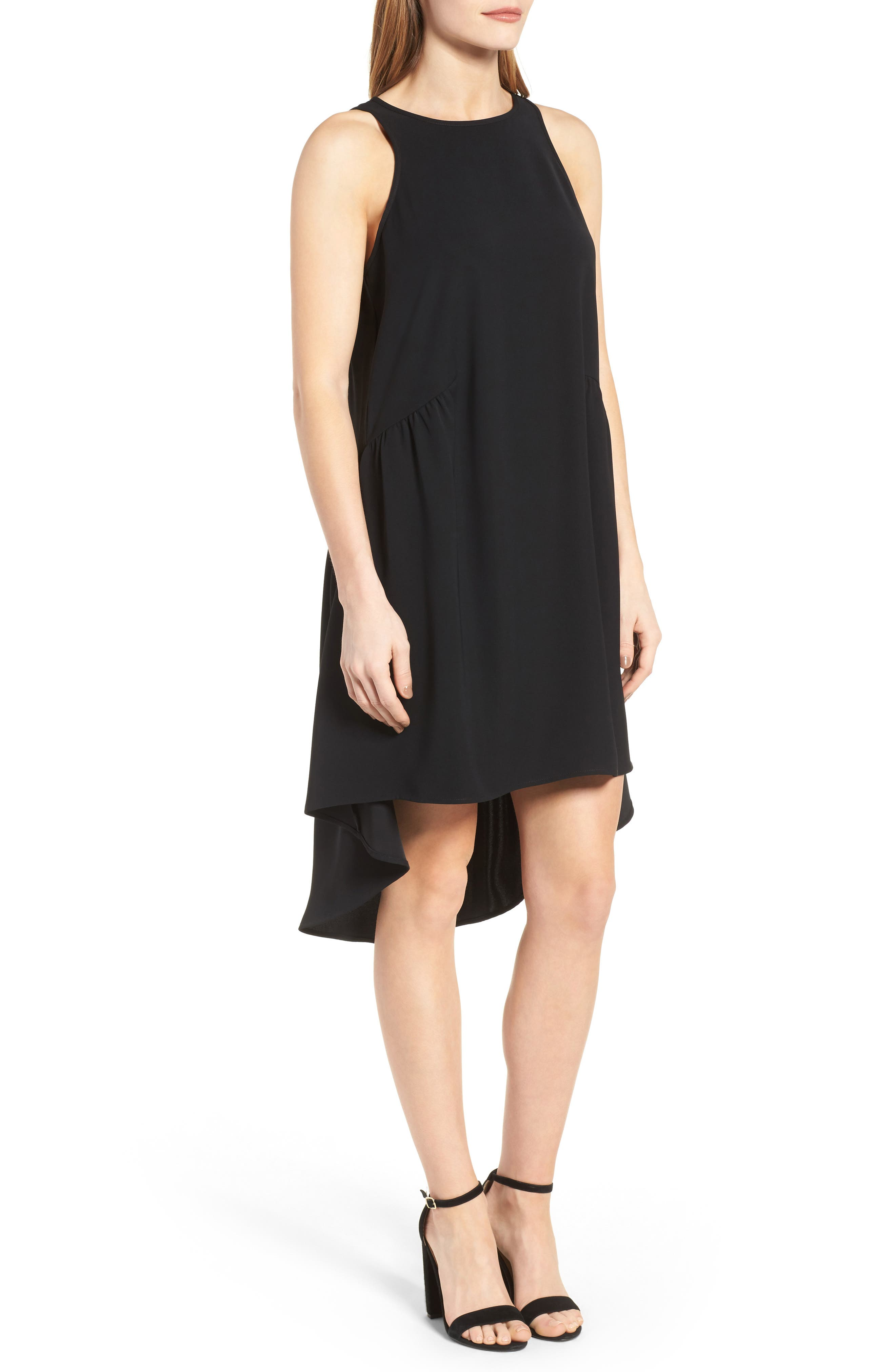 Ruffled High/Low Shift Dress,                             Alternate thumbnail 3, color,                             001