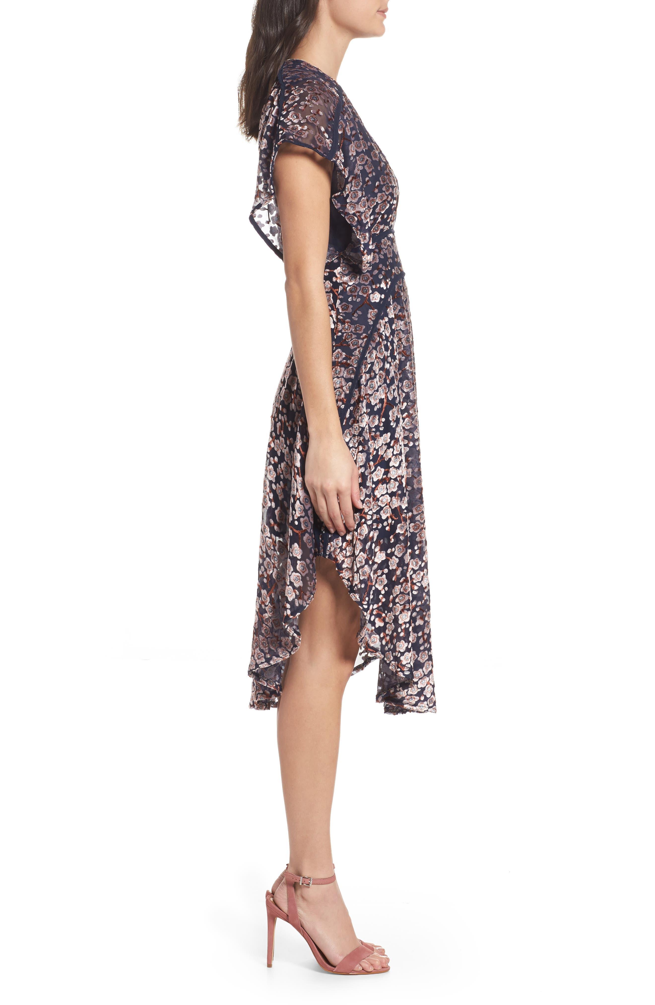 Cosimia Burnout Velvet Midi Dress,                             Alternate thumbnail 3, color,                             026