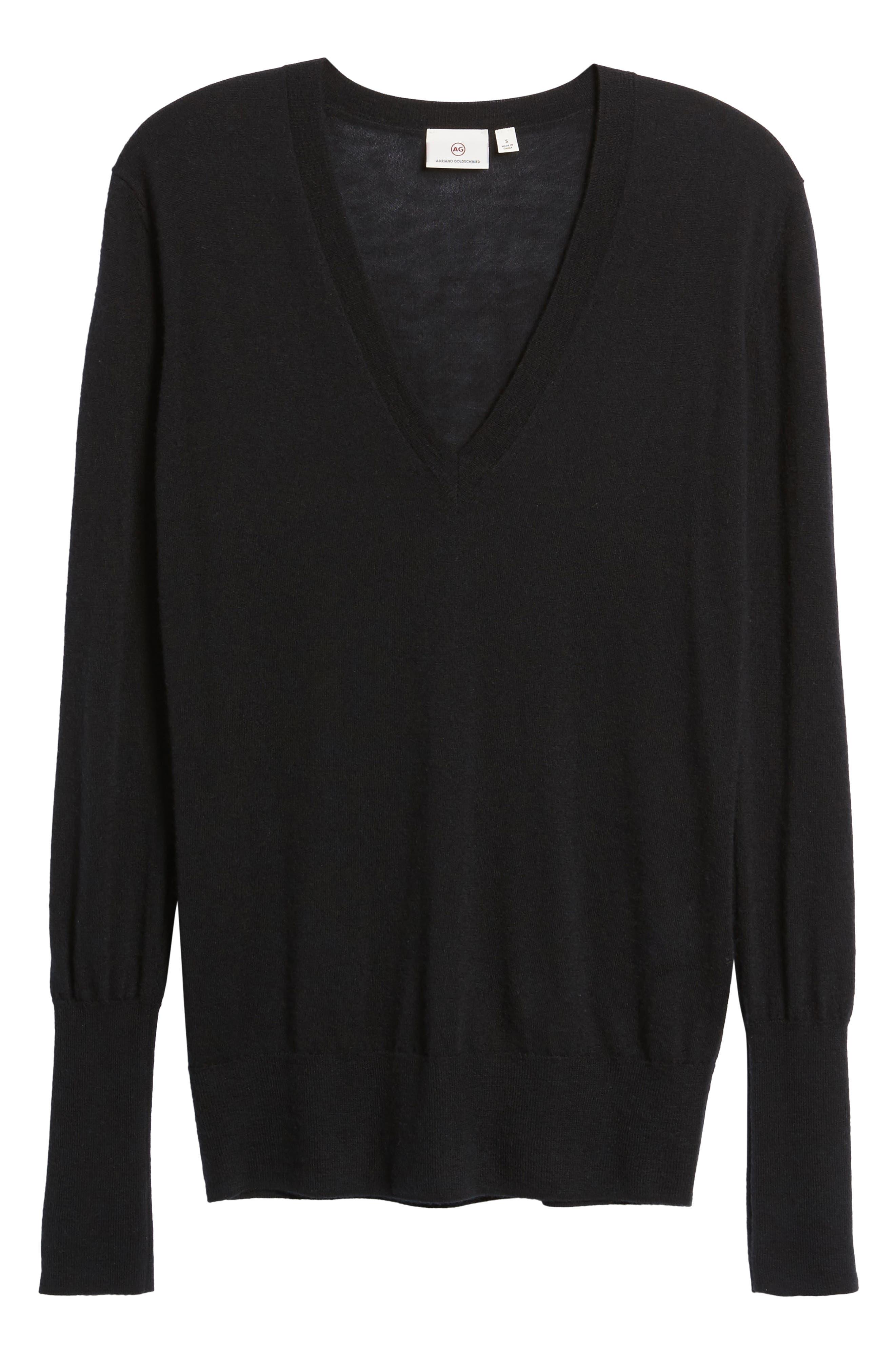 Uma V-Neck Cashmere Sweater,                             Alternate thumbnail 6, color,                             001