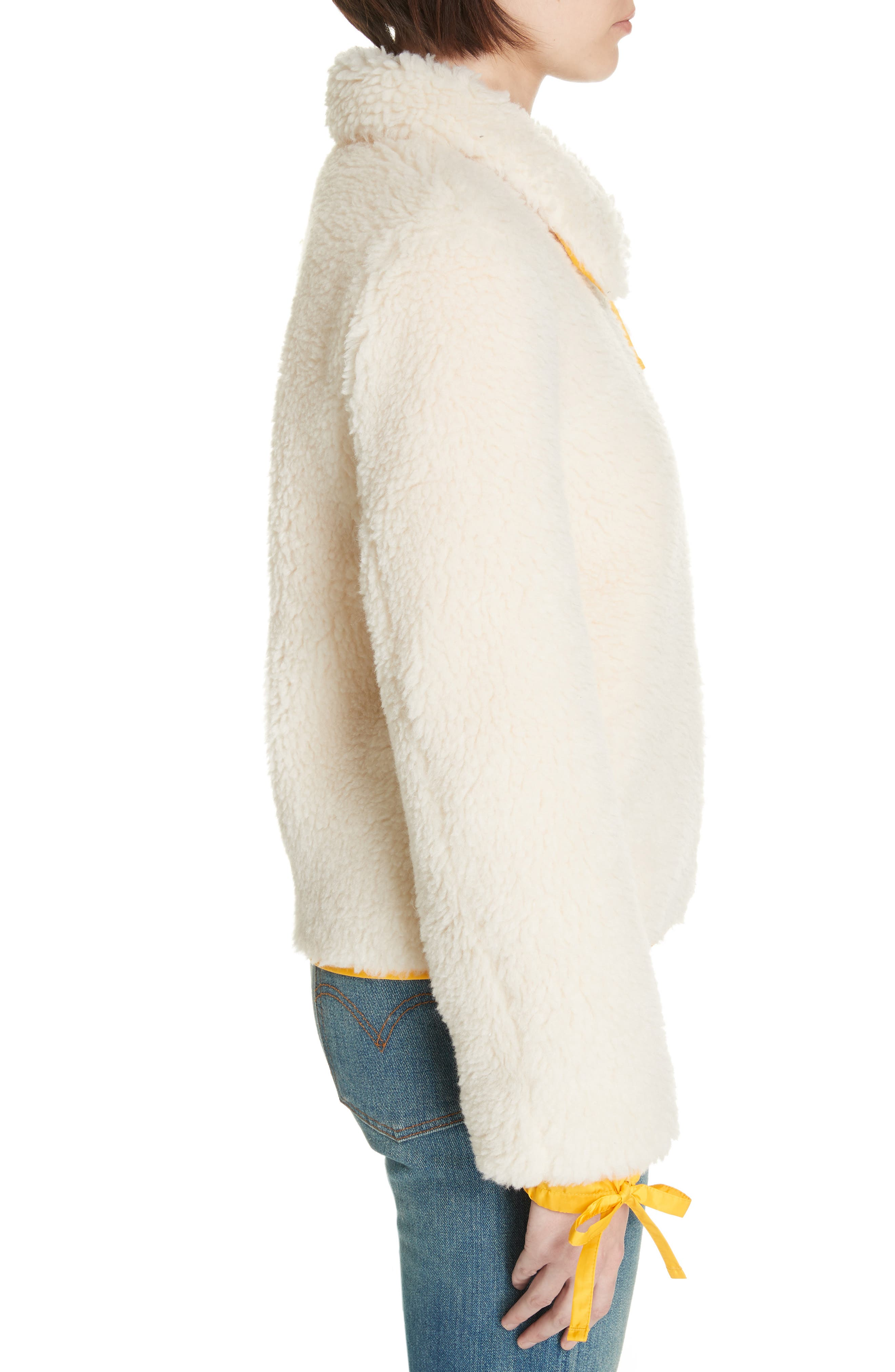 Faux Shearling Jacket,                             Alternate thumbnail 3, color,                             NEW IVORY