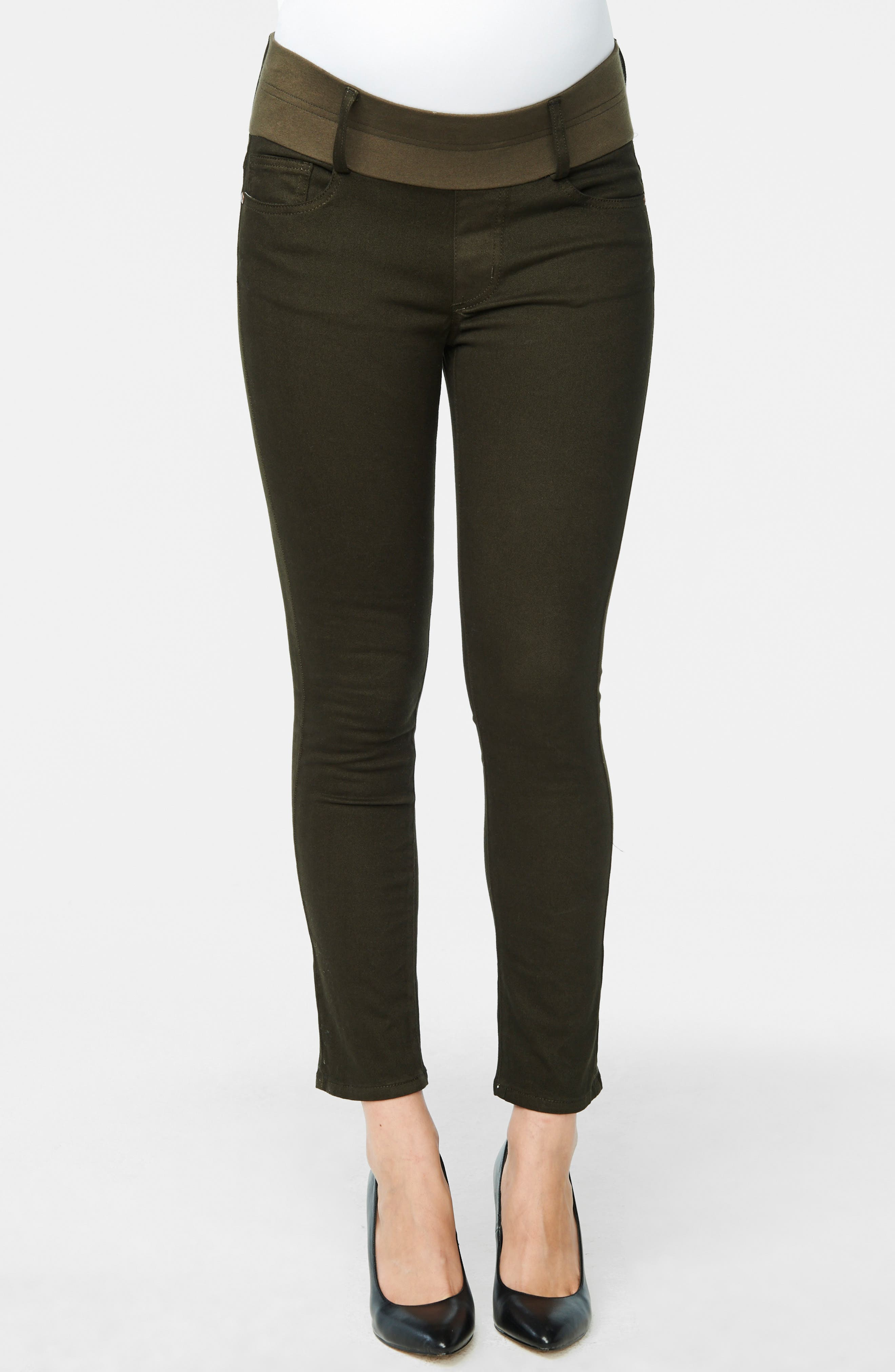 Maternity Skinny Ankle Stretch Jeans,                             Alternate thumbnail 3, color,                             OLIVE