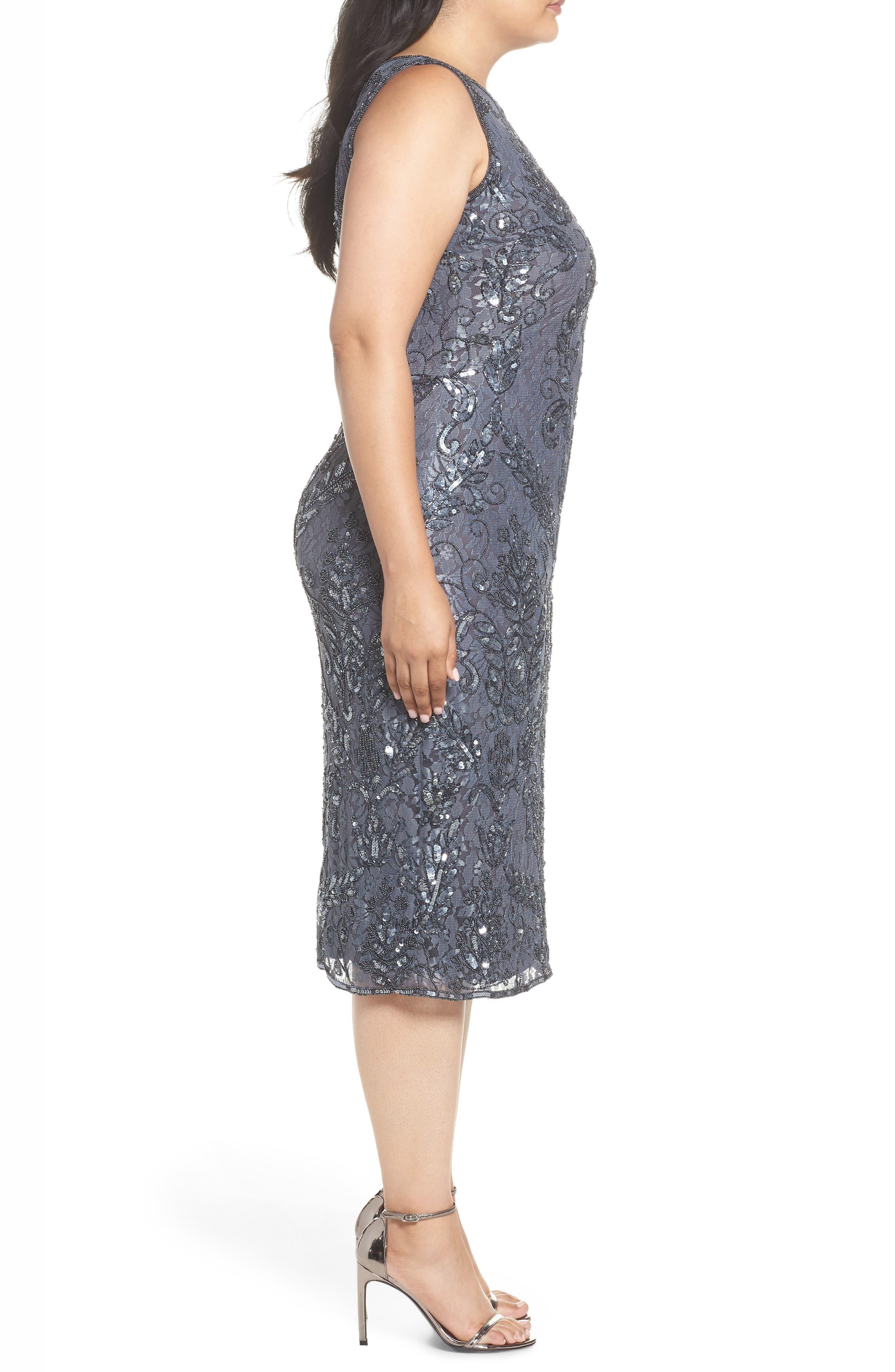 Sequin Lace Sheath Dress,                             Alternate thumbnail 3, color,                             020