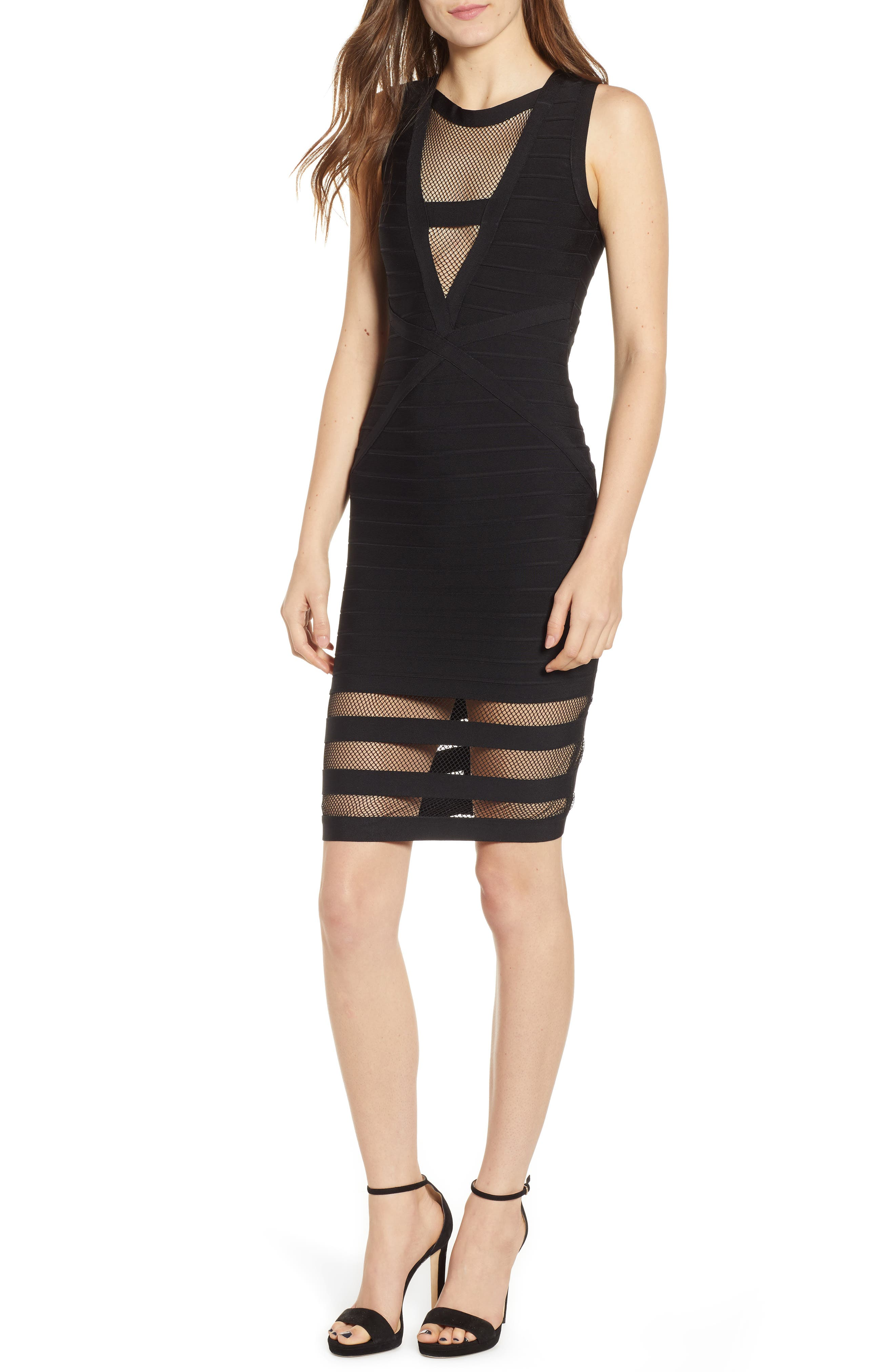 Illusion Mesh Body-Con Dress,                         Main,                         color, BLACK