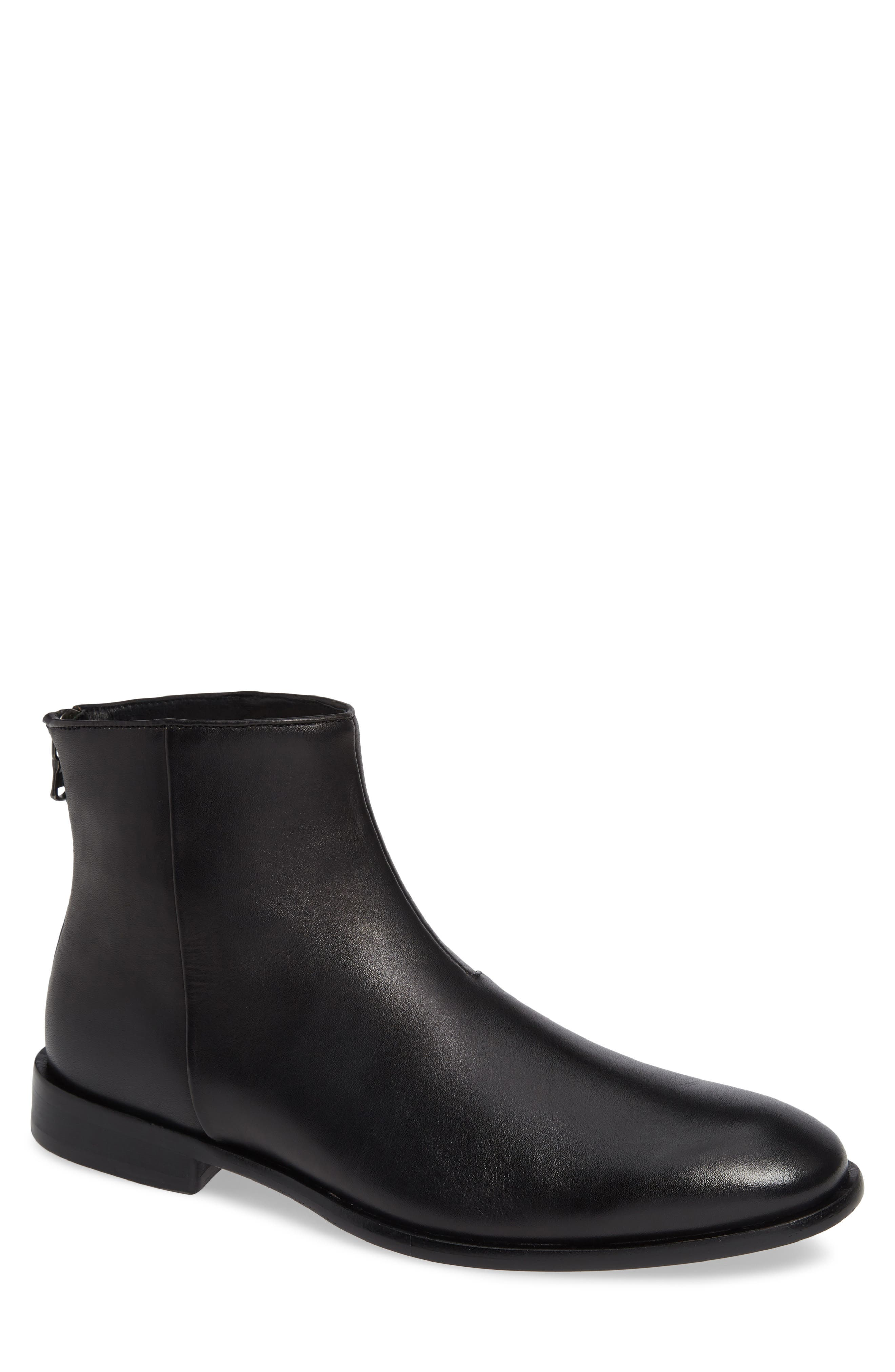 NYC Back Zip Boot,                             Main thumbnail 1, color,                             BLACK LEATHER