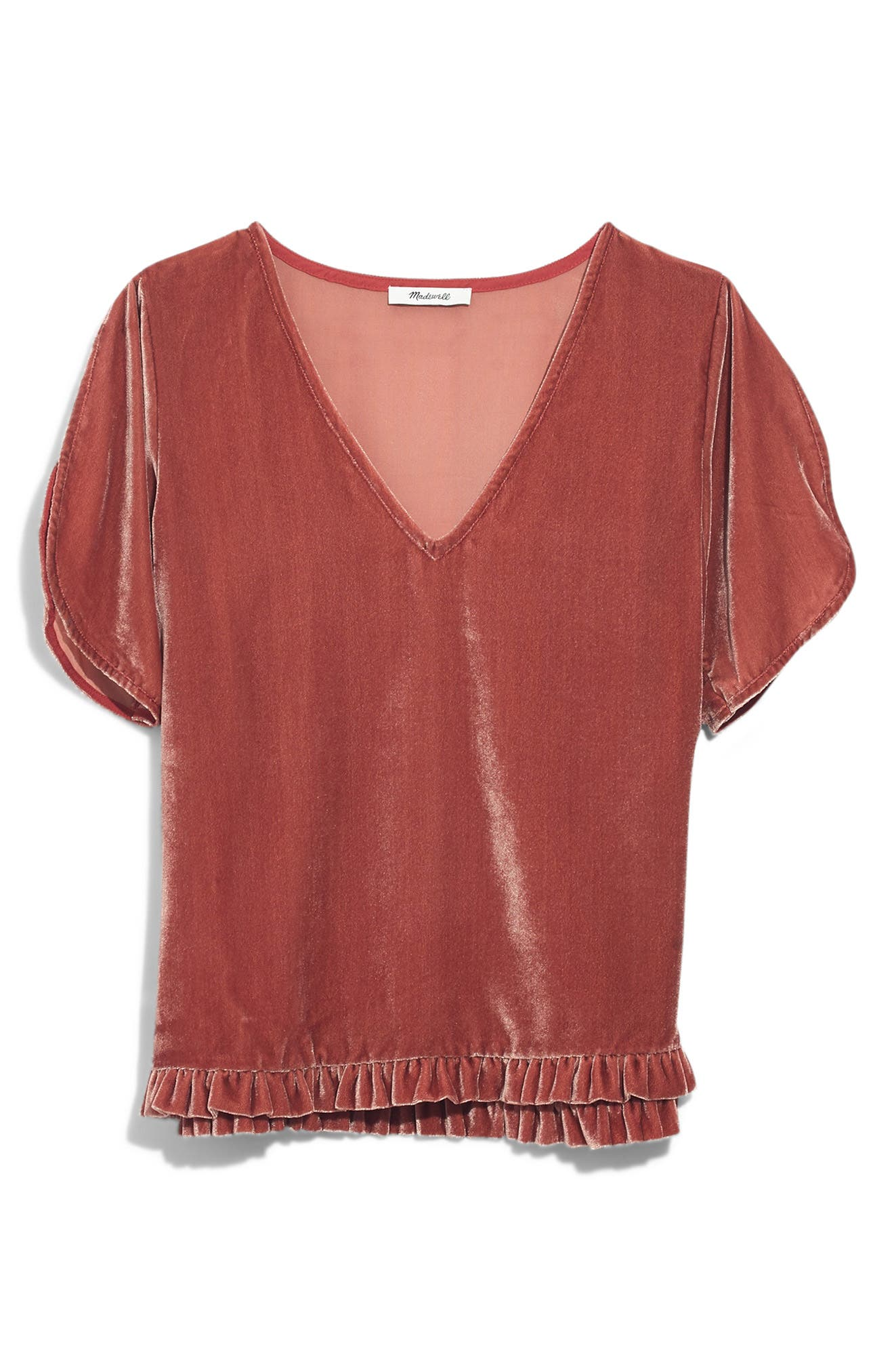 Ruffle Tulip Sleeve Velvet Top,                             Alternate thumbnail 6, color,                             AFTERGLOW RED