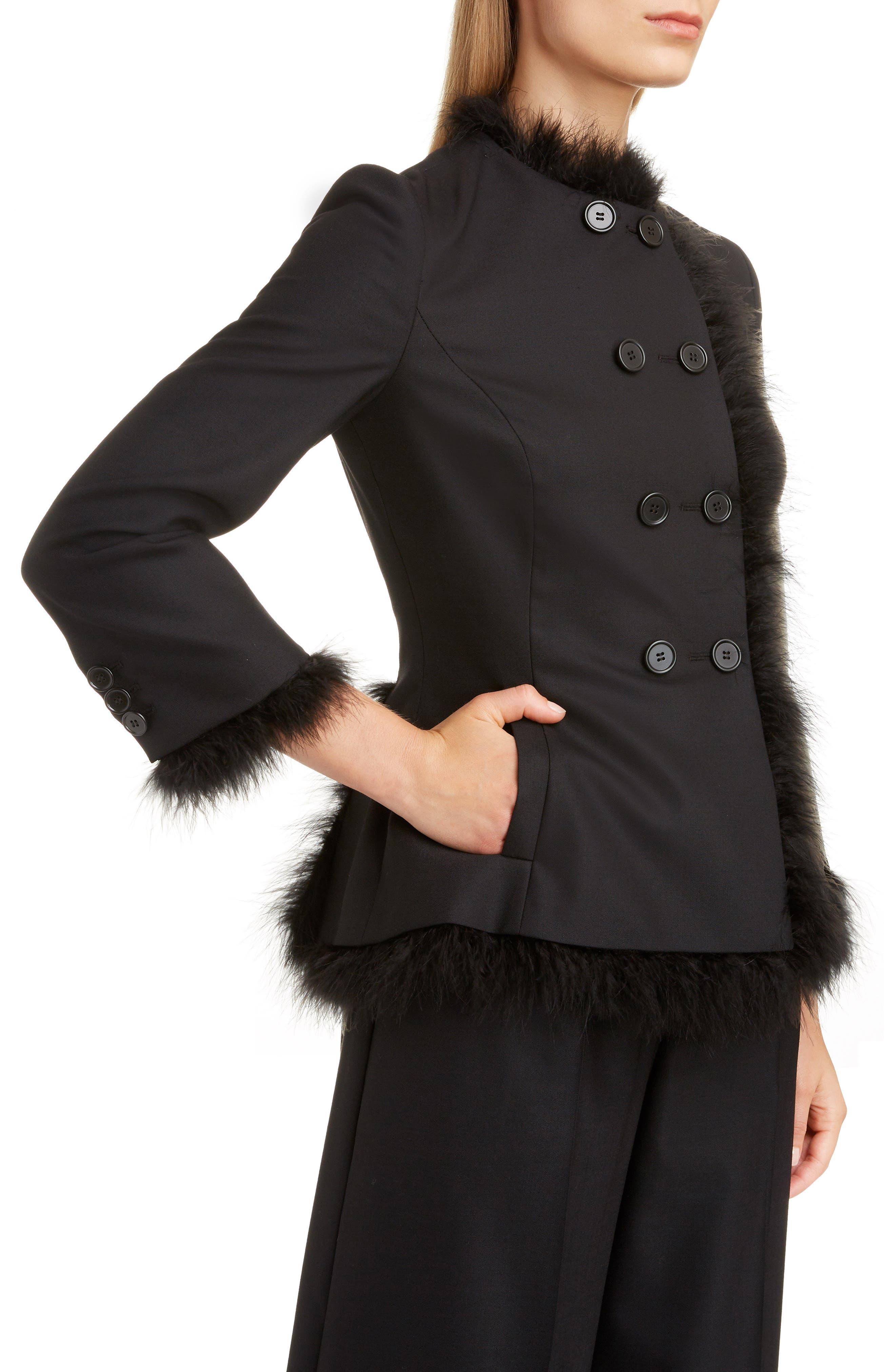SIMONE ROCHA,                             Marabou Trim Double Breasted Stretch Wool Jacket,                             Alternate thumbnail 4, color,                             BLACK